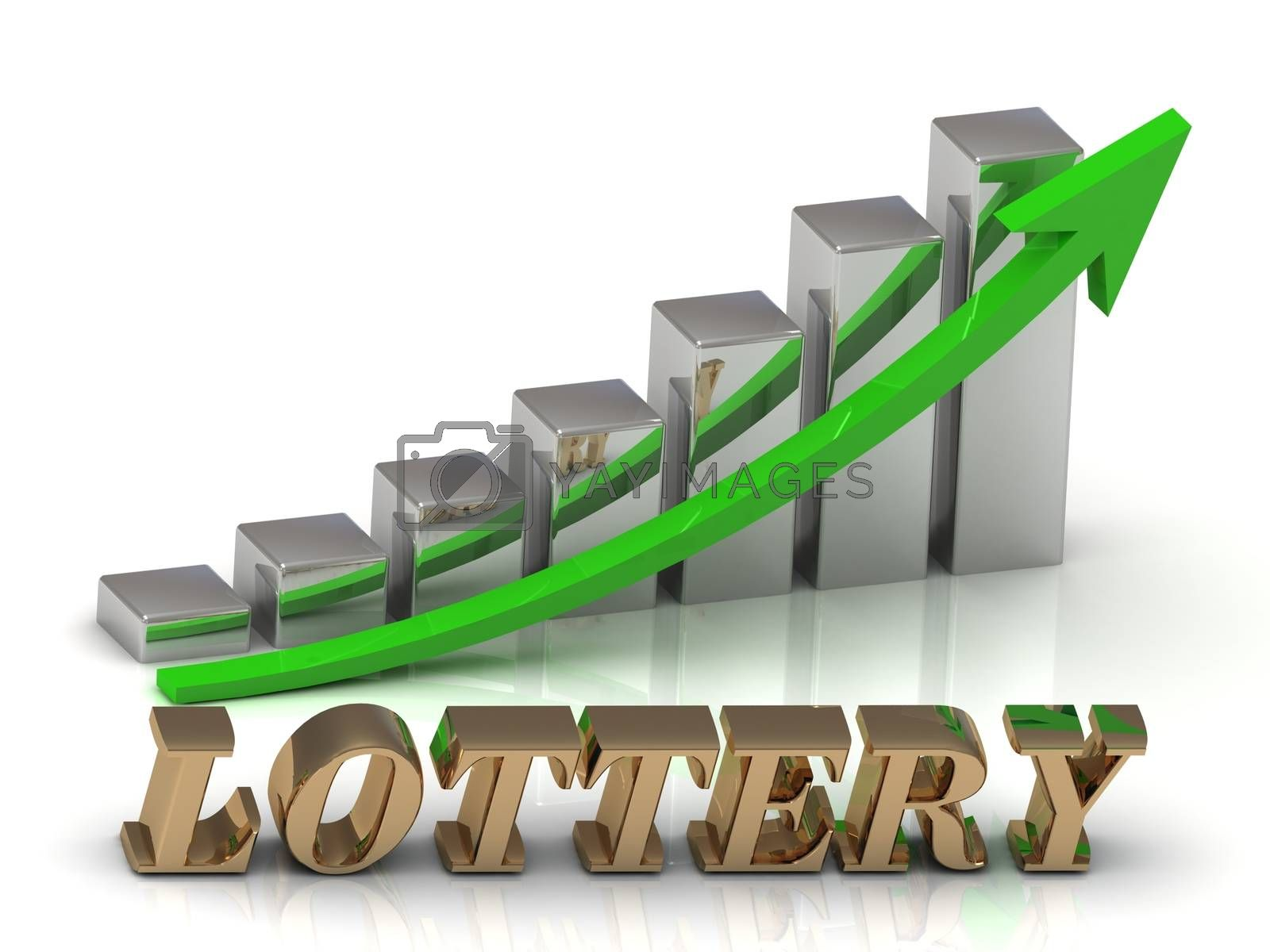 LOTTERY- inscription of gold letters and Graphic growth and gold arrows on white background