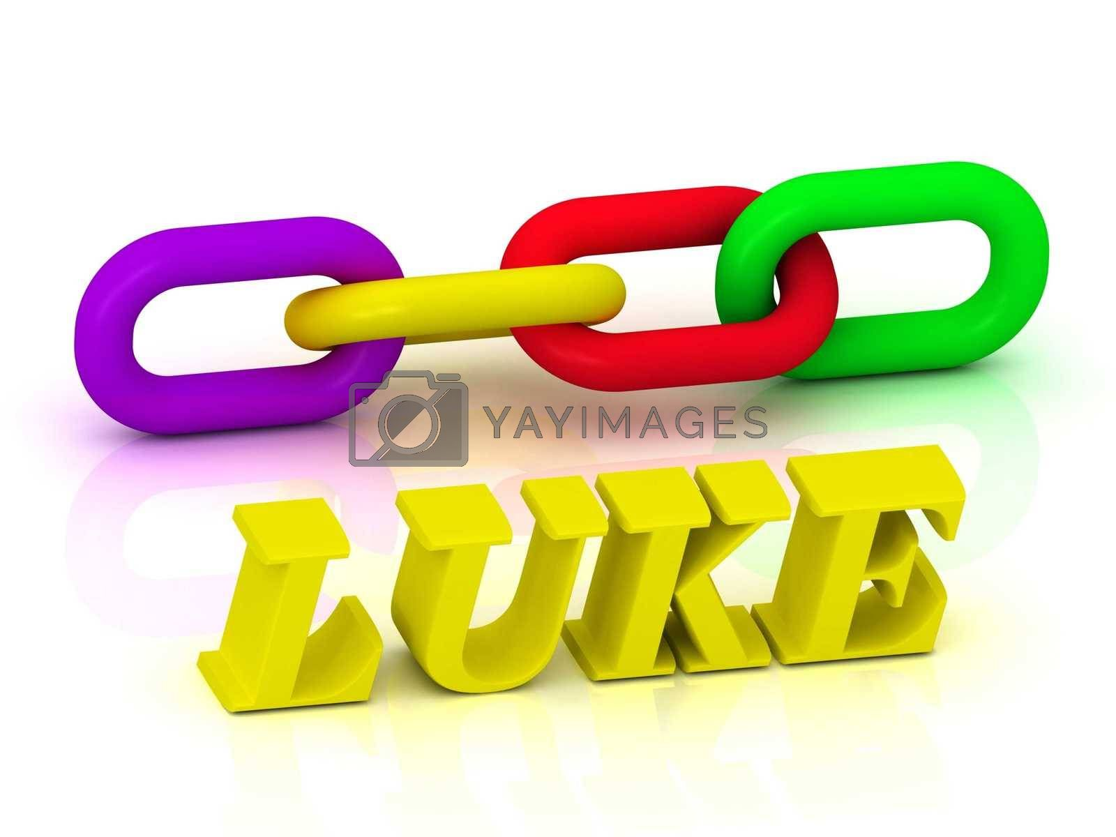 LUKE - Name and Family of bright yellow letters and chain of green, yellow, red section on white background