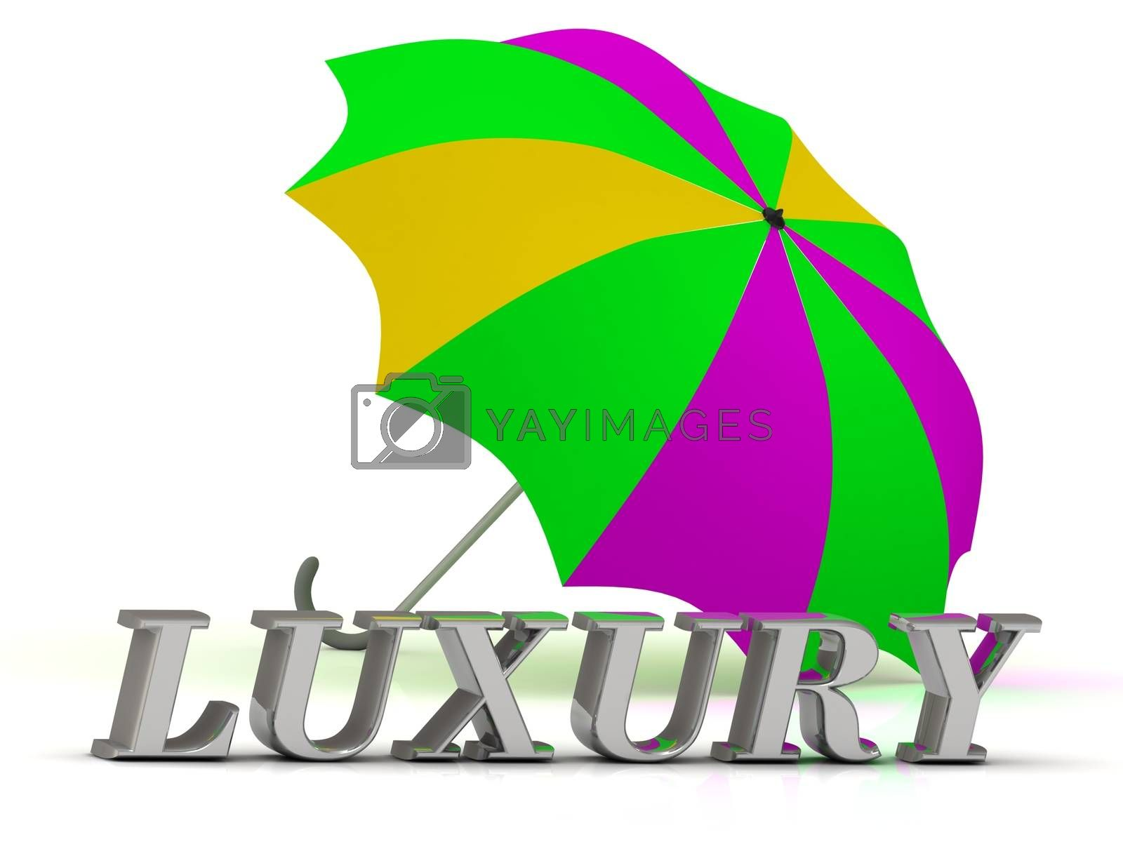 LUXURY- inscription of silver letters and umbrella on white background