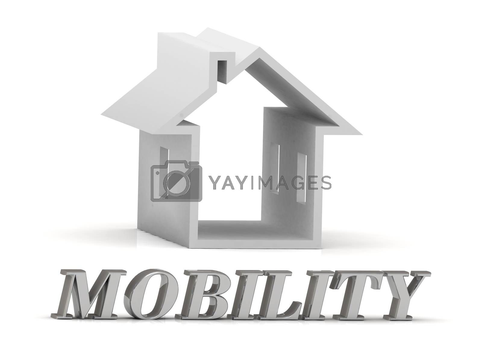 MOBILITY- inscription of silver letters and white house on white background