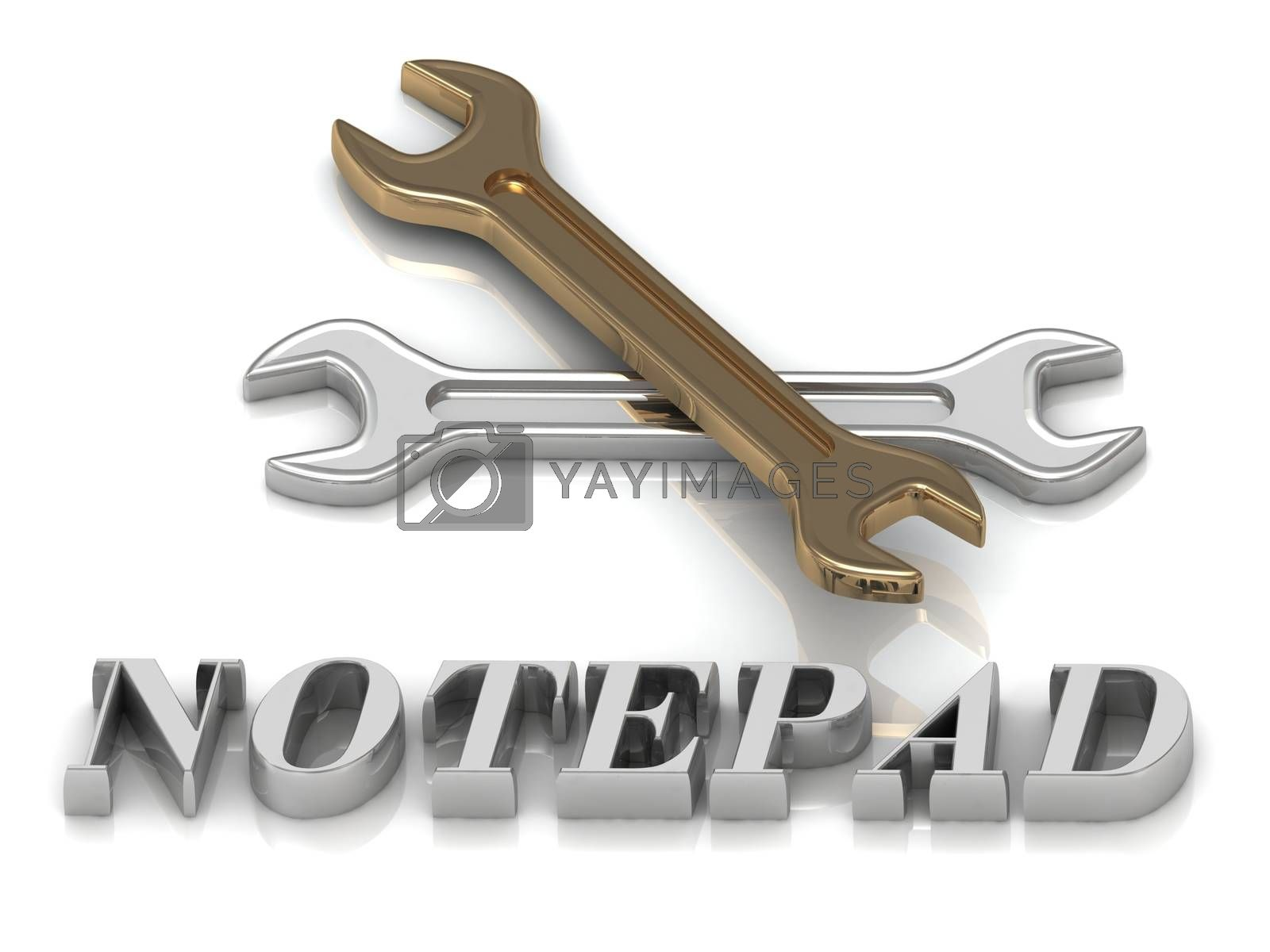 NOTEPAD- inscription of metal letters and 2 keys on white background