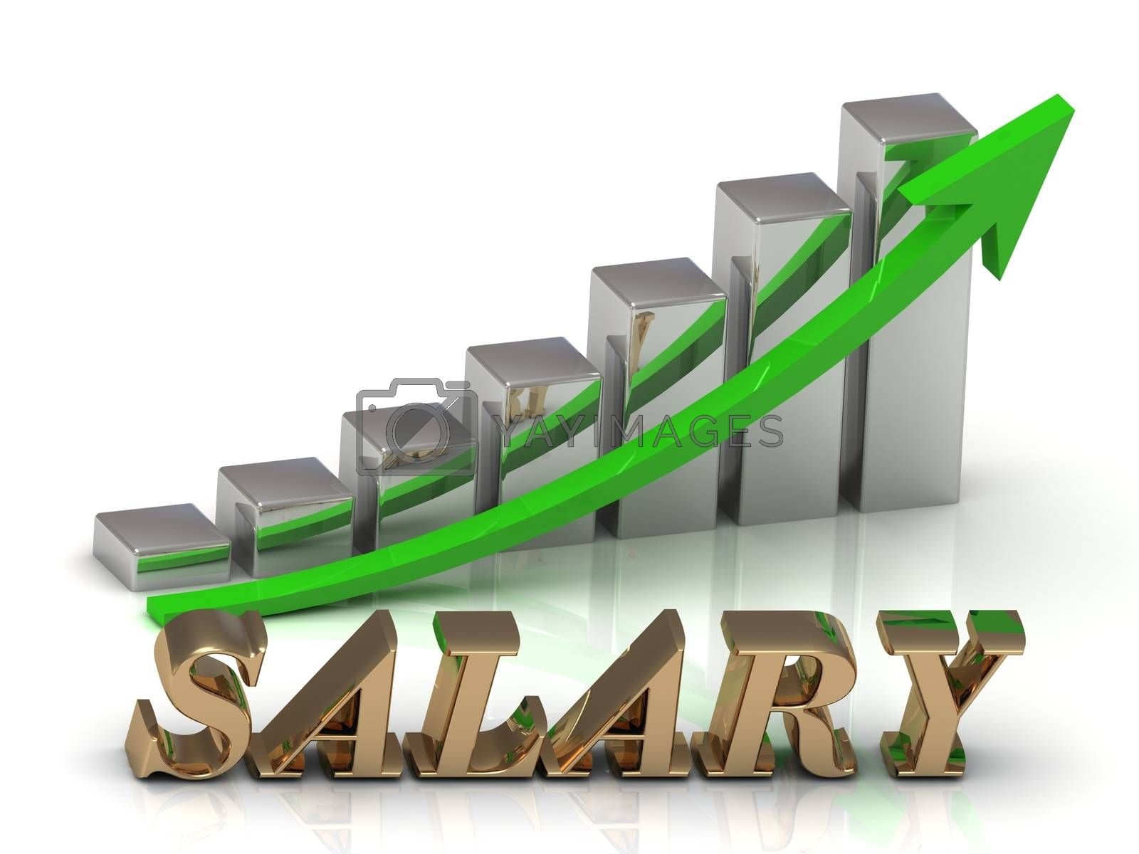 SALARY- inscription of gold letters and Graphic growth and gold arrows on white background