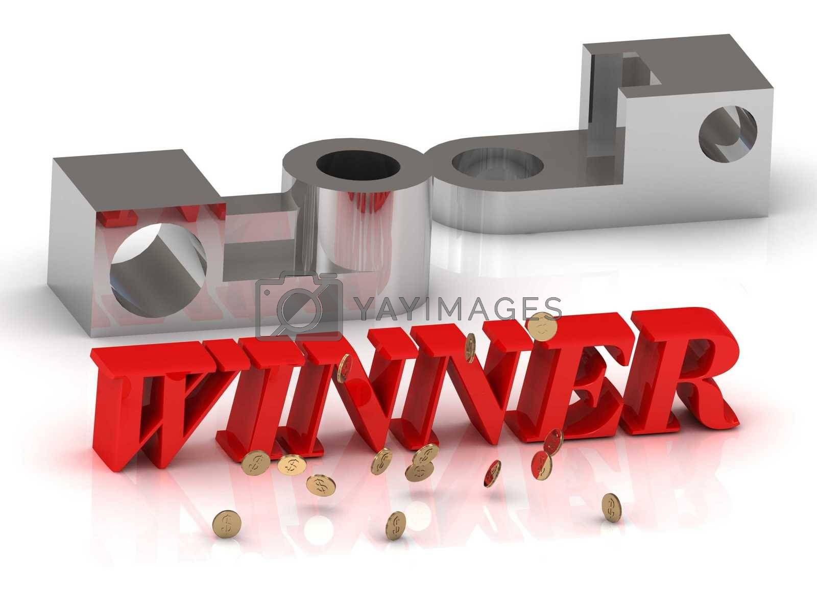 WINNER- inscription of red letters and silver details on white background