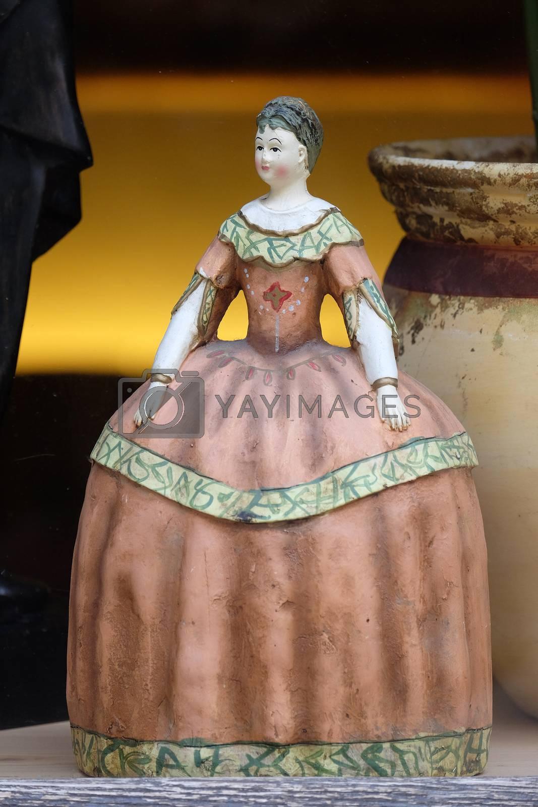 Old vintage doll in antique shop, Graz, Styria, Austria