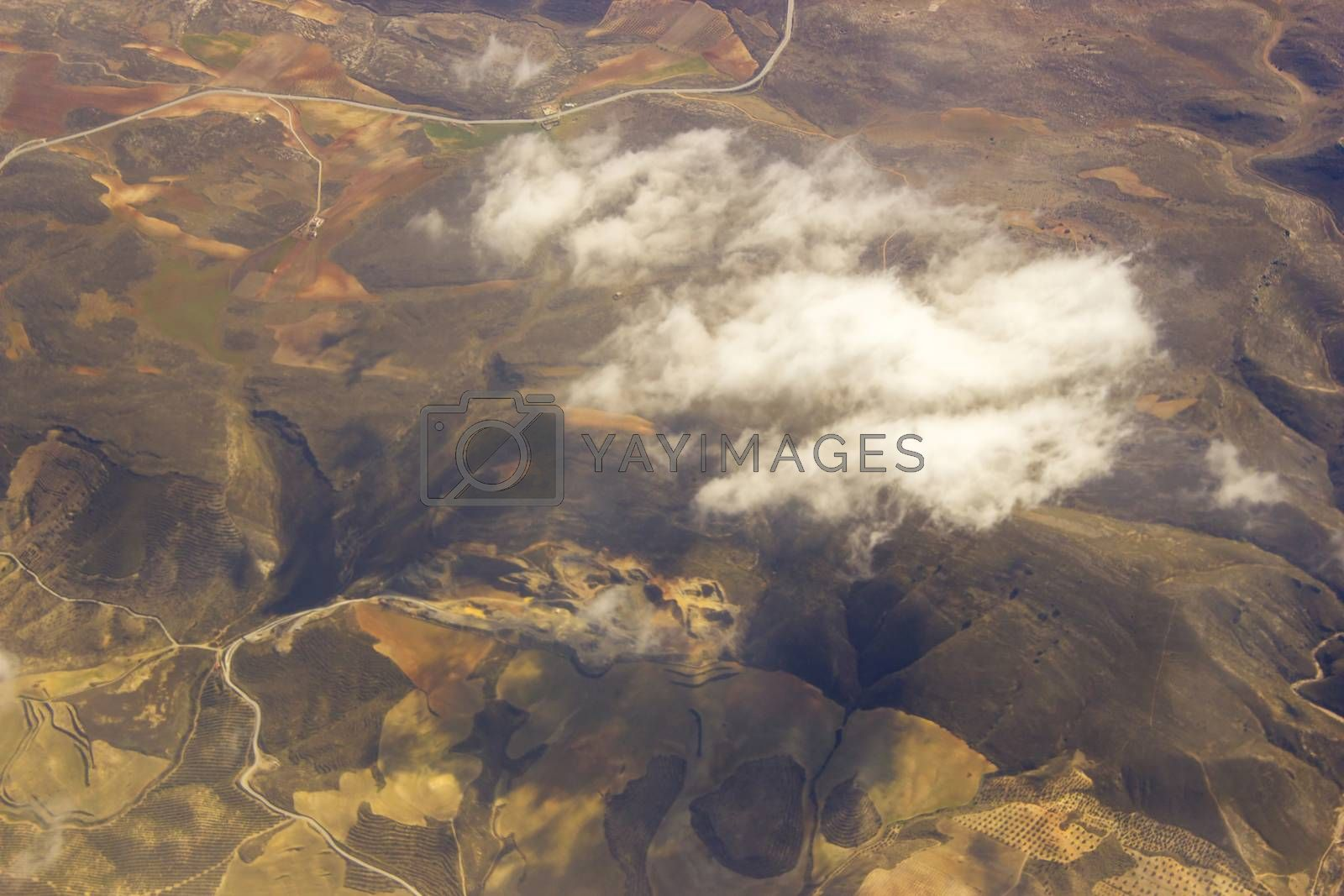 Aerial view of Spain with fields