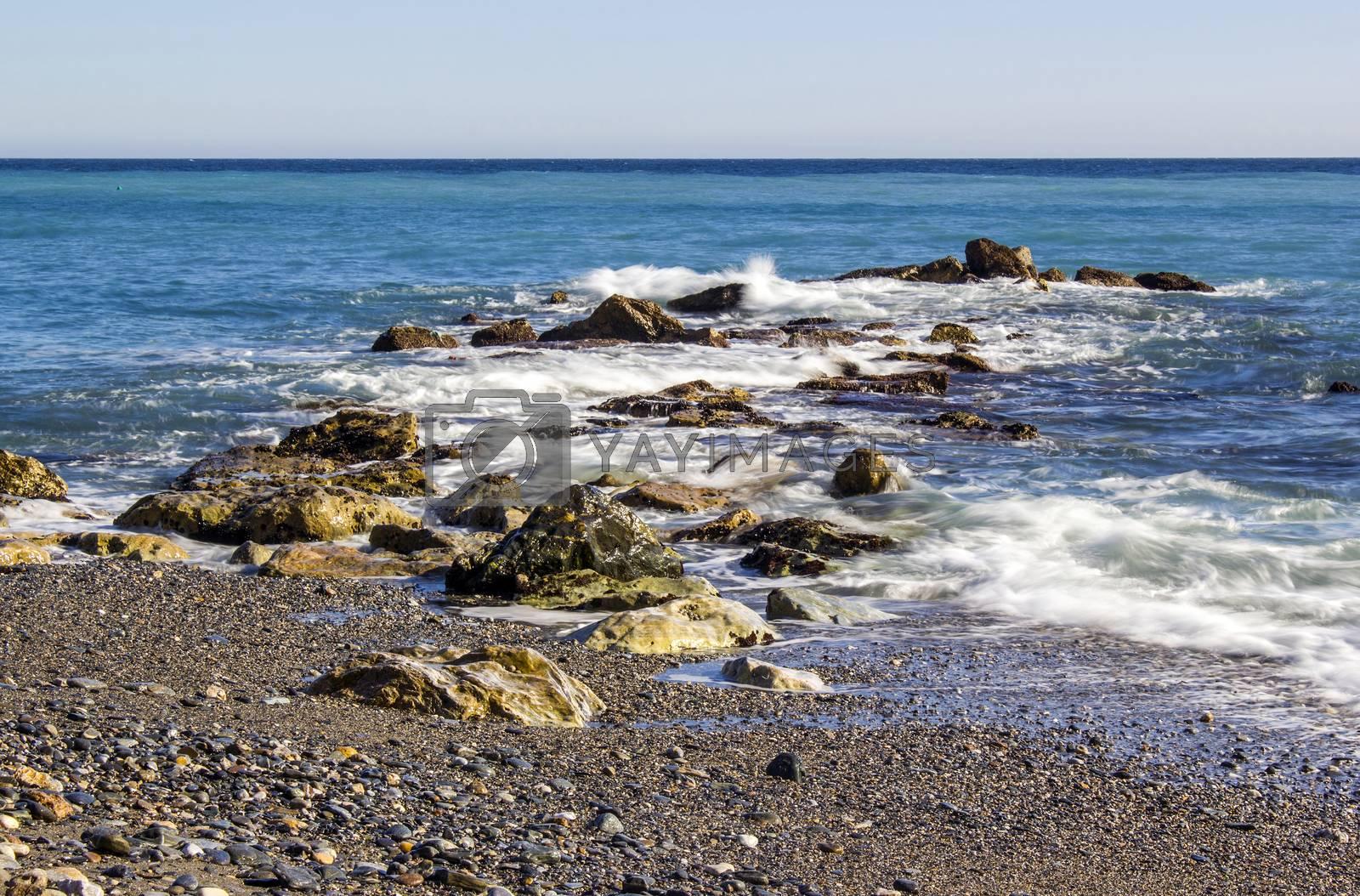 Stone beach in Almunecar, Andalusia, Spain
