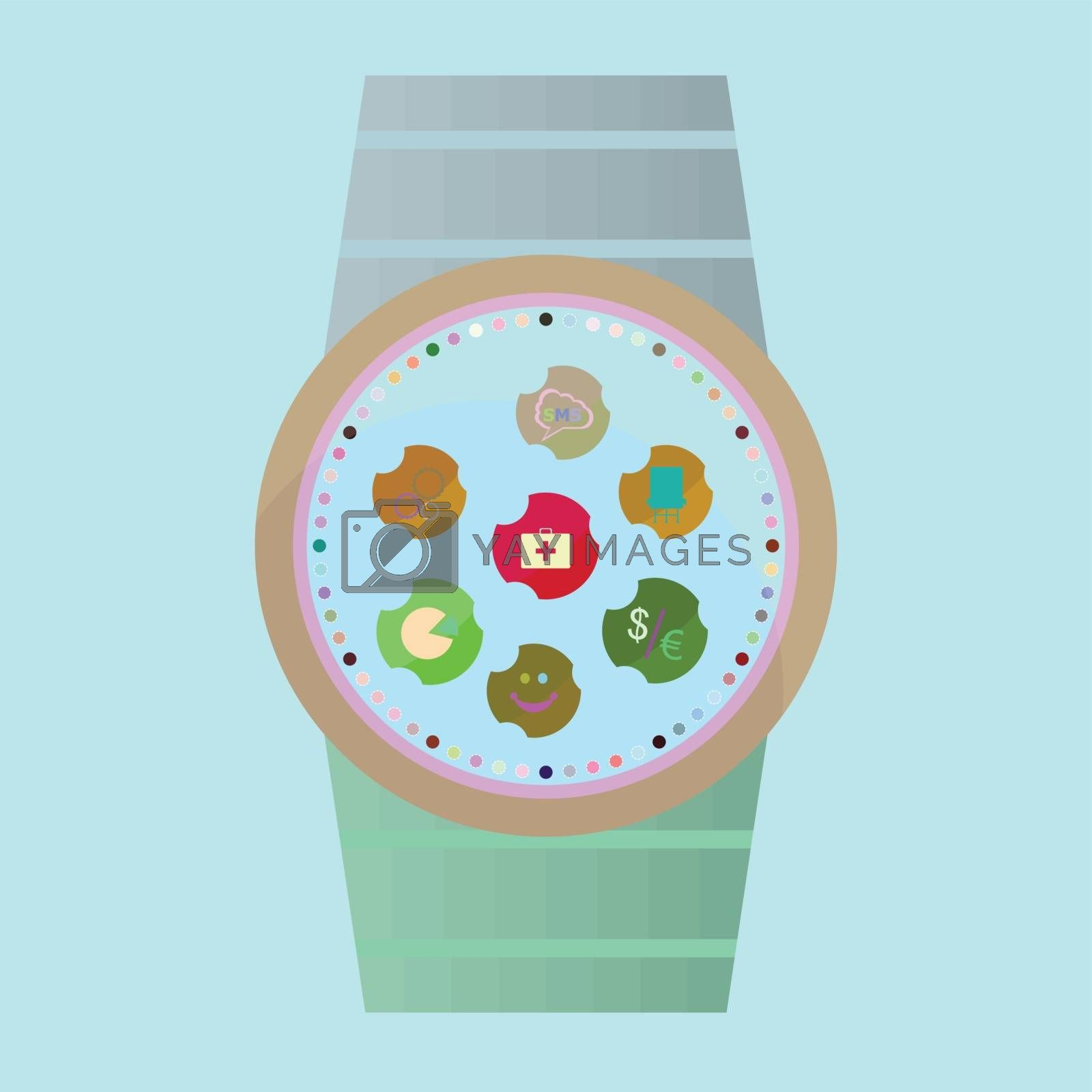 Smart watch with flat icons. Vector illustration.