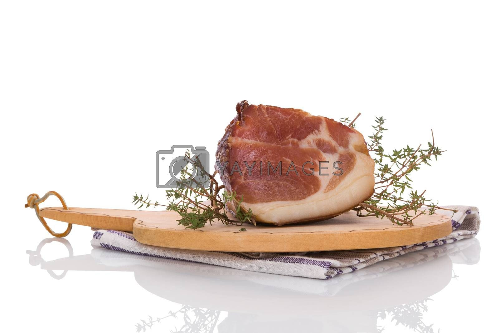 Traditional smoked with herbs isolated on white background. Culinary meat eating.