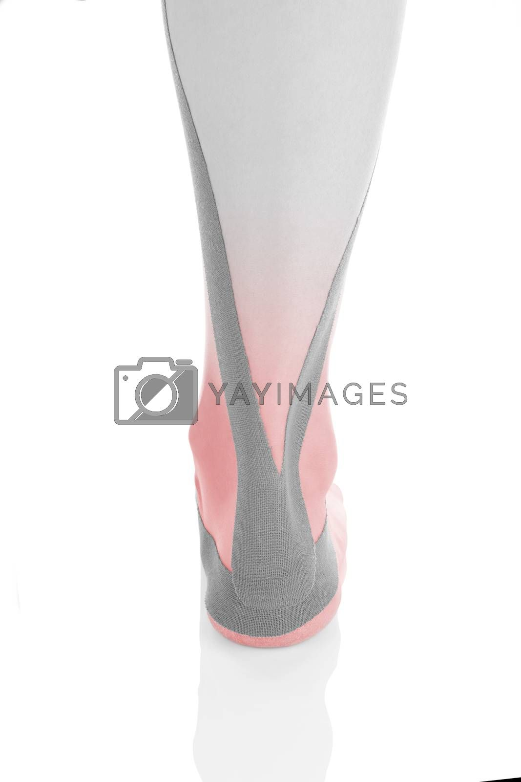 Therapeutic tape on female heel and calf isolated on white background. Chronic pain, alternative medicine. Rehabilitation and physiotherapy. Calf pain.