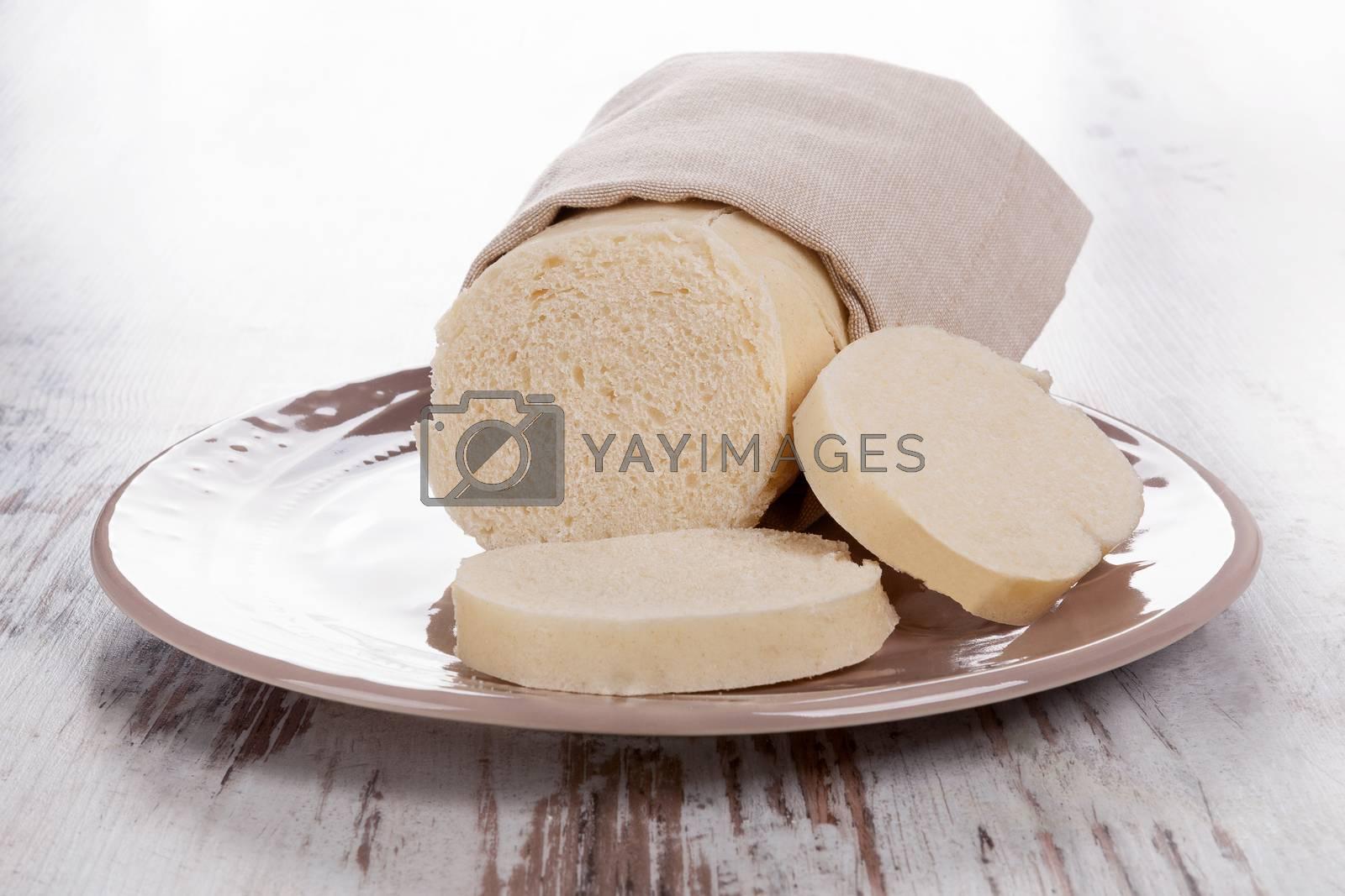 Bread dumplings. Traditional european czech eating.