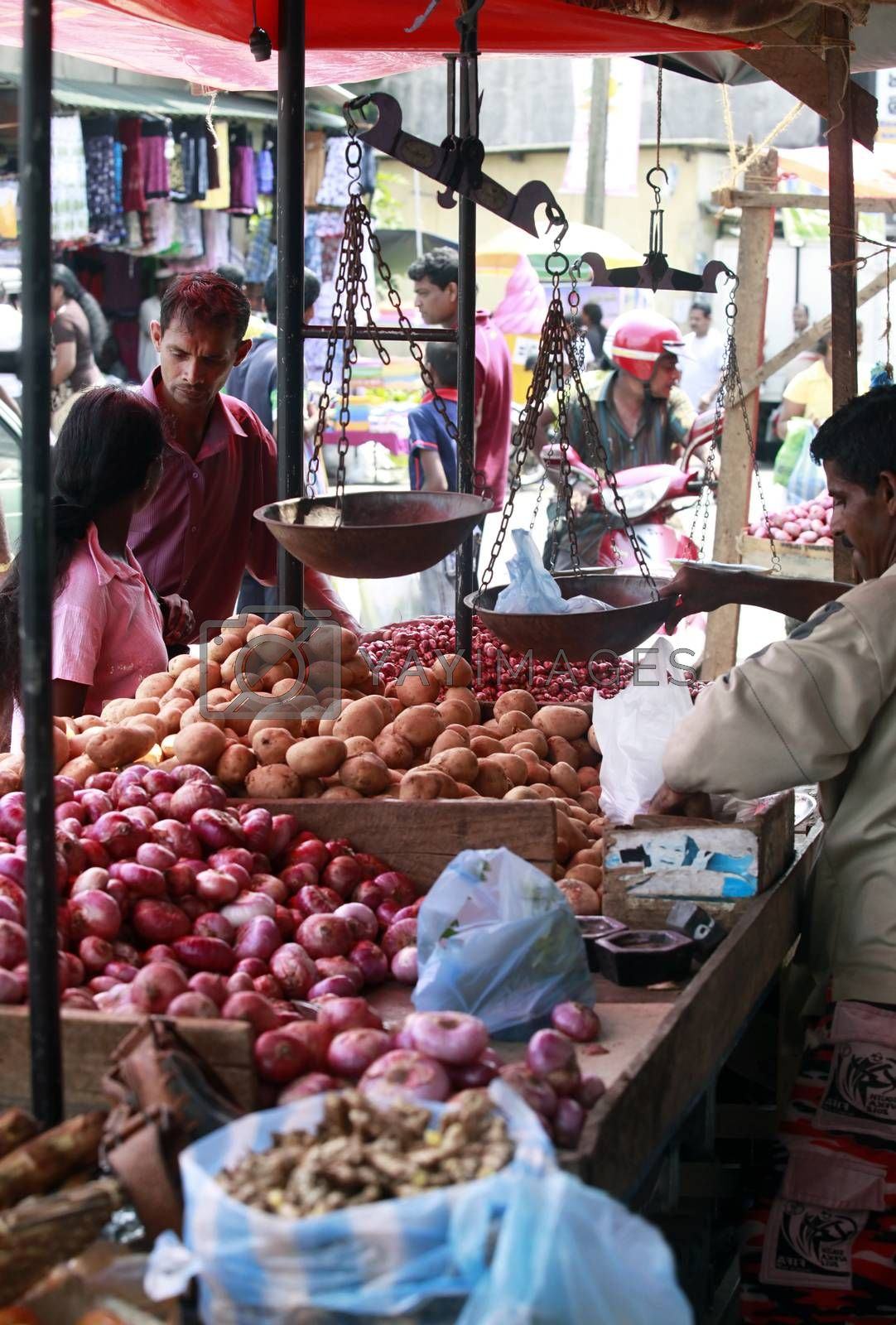 Colombo, Sri Lanka - April 9, 2011: Sri Lankan people on the fruit market in the Pettah district. The Pettah neighborhood is famous for its open air bazaars and markets