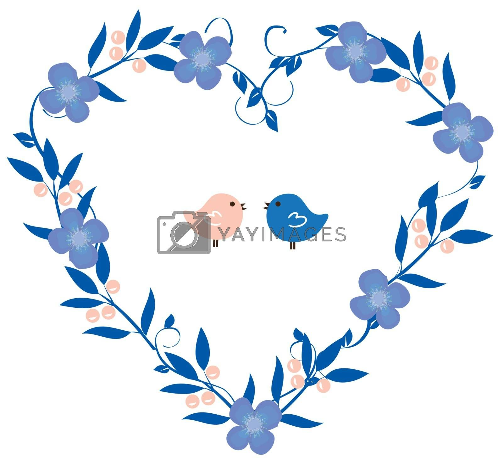 vector illustration of vintage wreath heart with flowers and birds