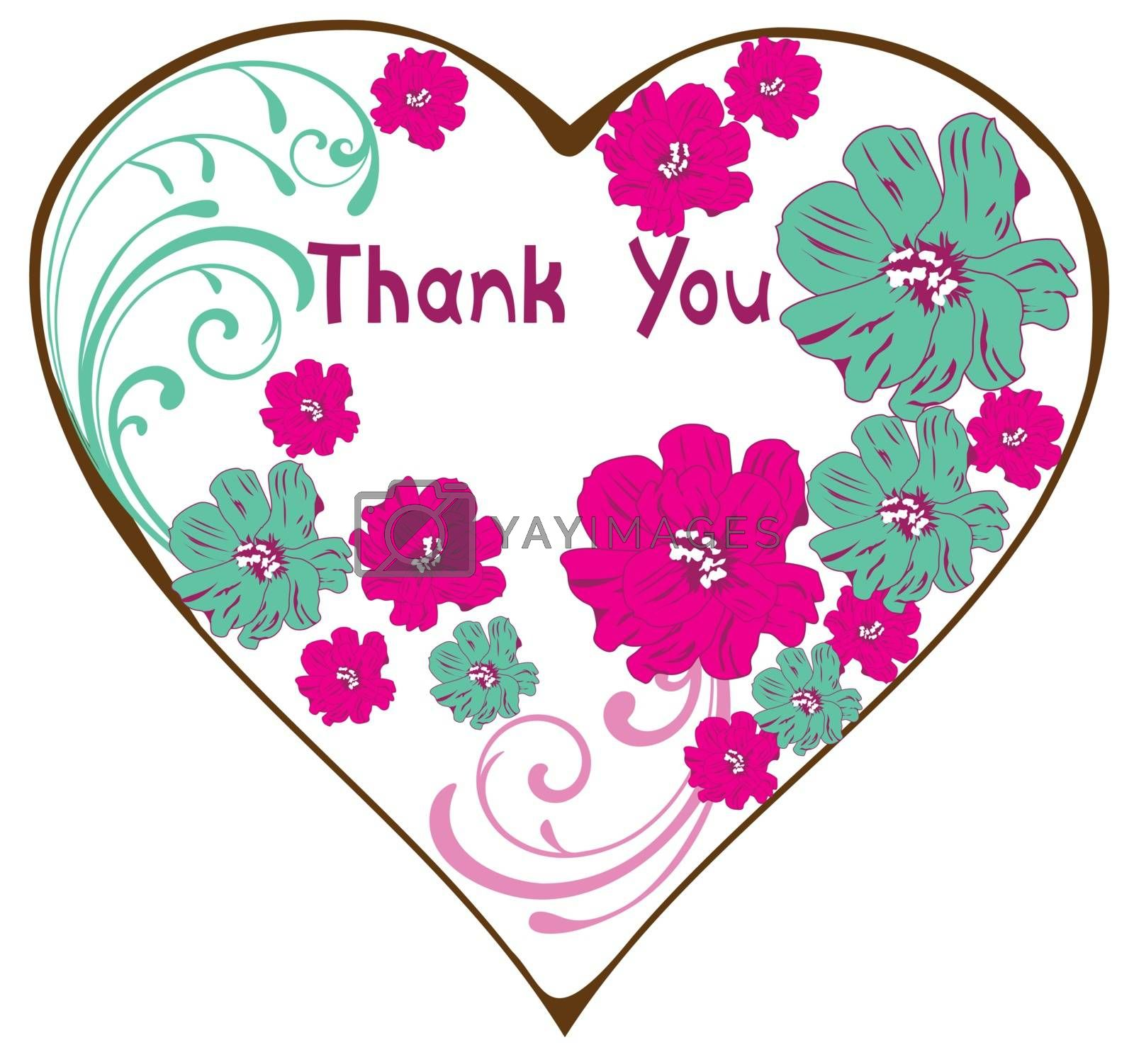 vector illustration of thank you card with vintage floral card