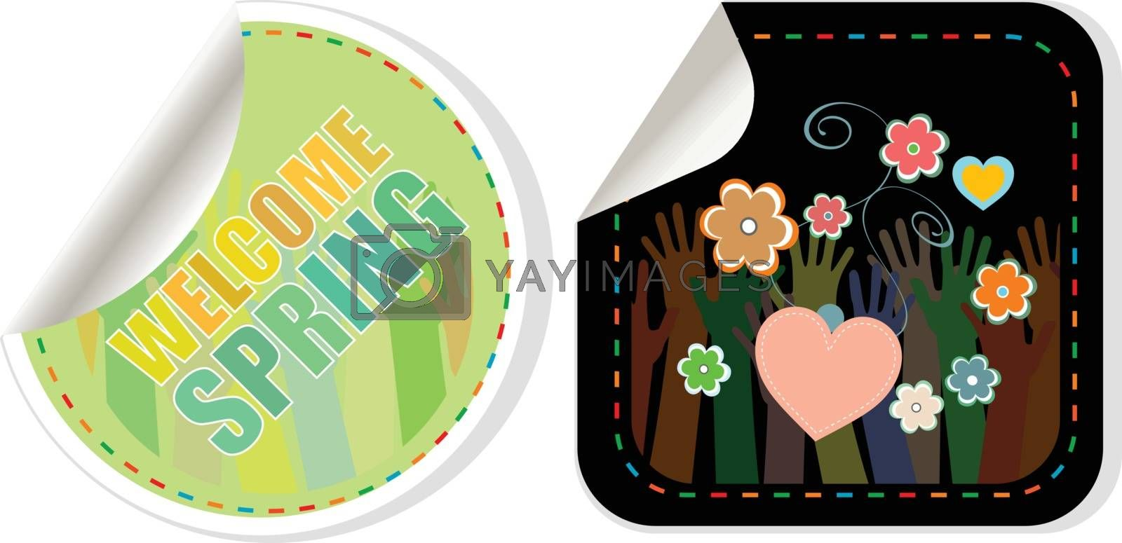 Welcome Spring Holiday Card. Welcome Spring Vector. Welcome Spring web button isolated on white. Spring Holiday Graphic. Welcome Spring Art. Spring Holiday Drawing