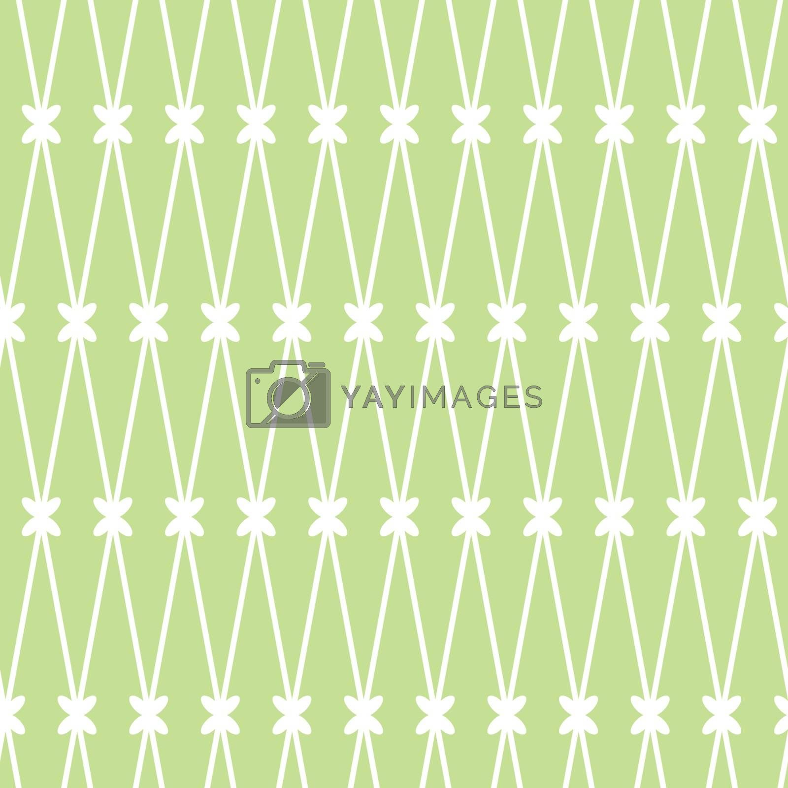 Vector seamless background. White grid on the green background