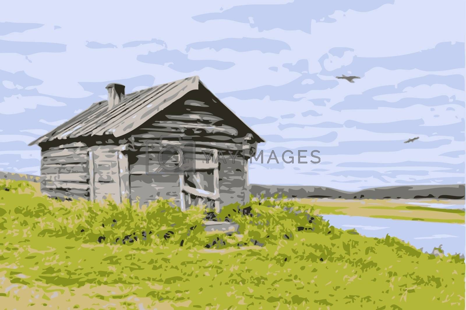 Vector thrown house at the river against the cloudy sky with birds