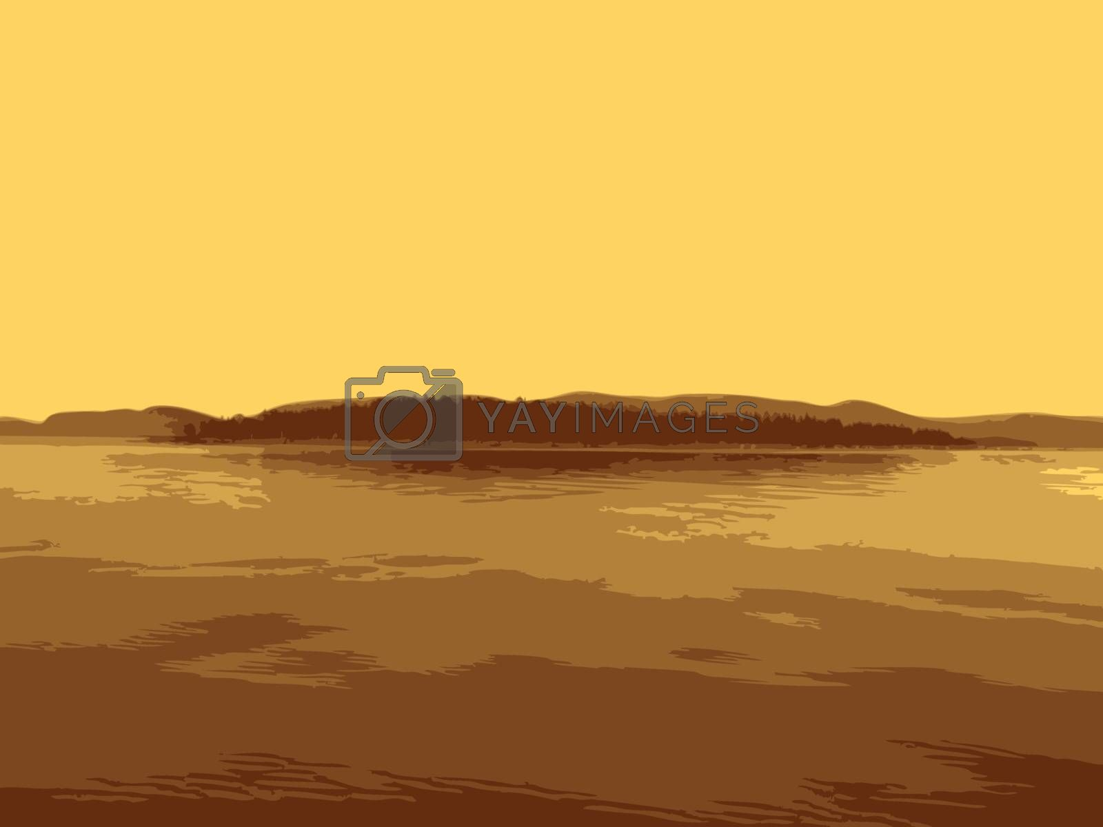 Vector island in a gulf of the sea against an unflawed sky
