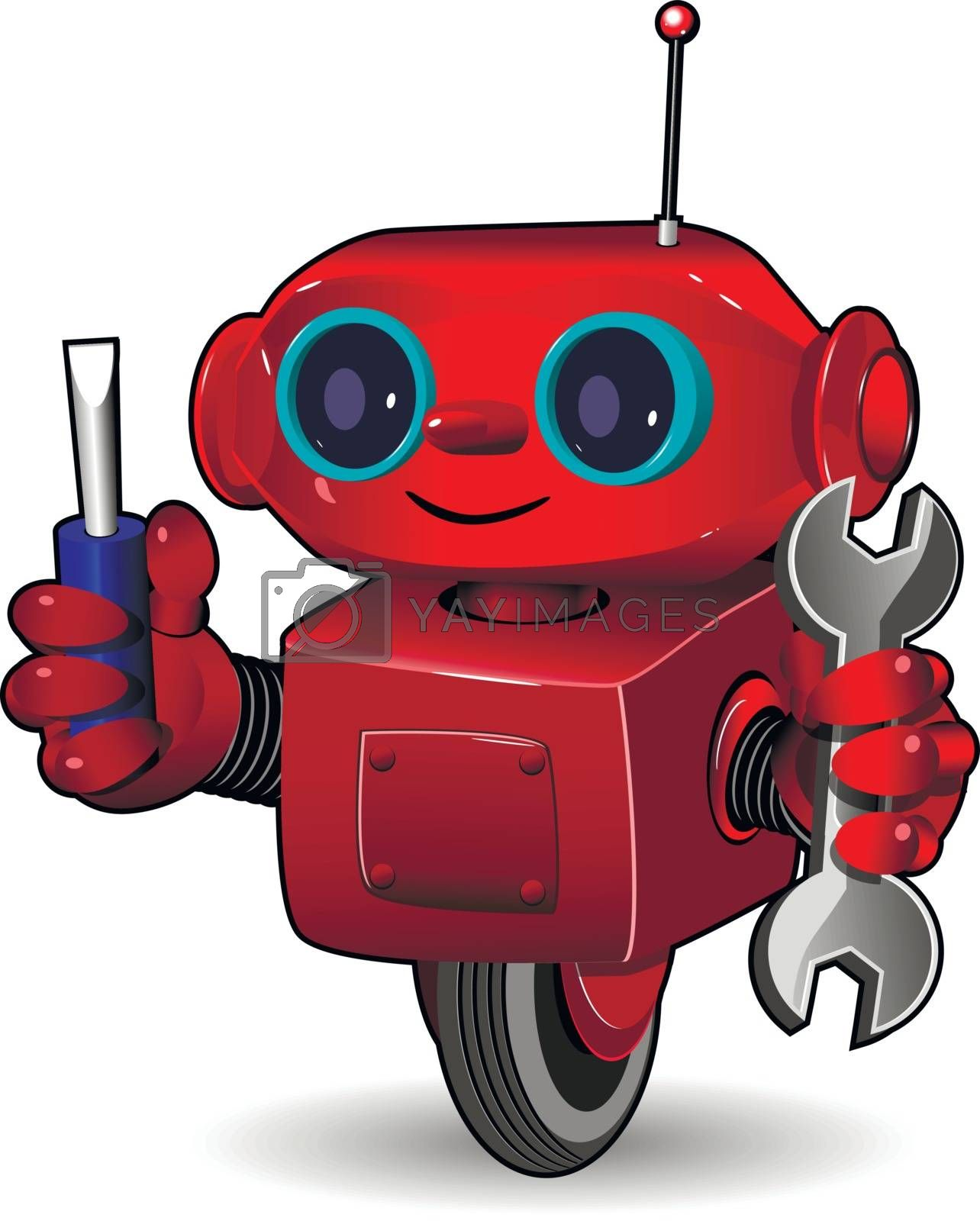 Illustration the red robot on the wheel with tool