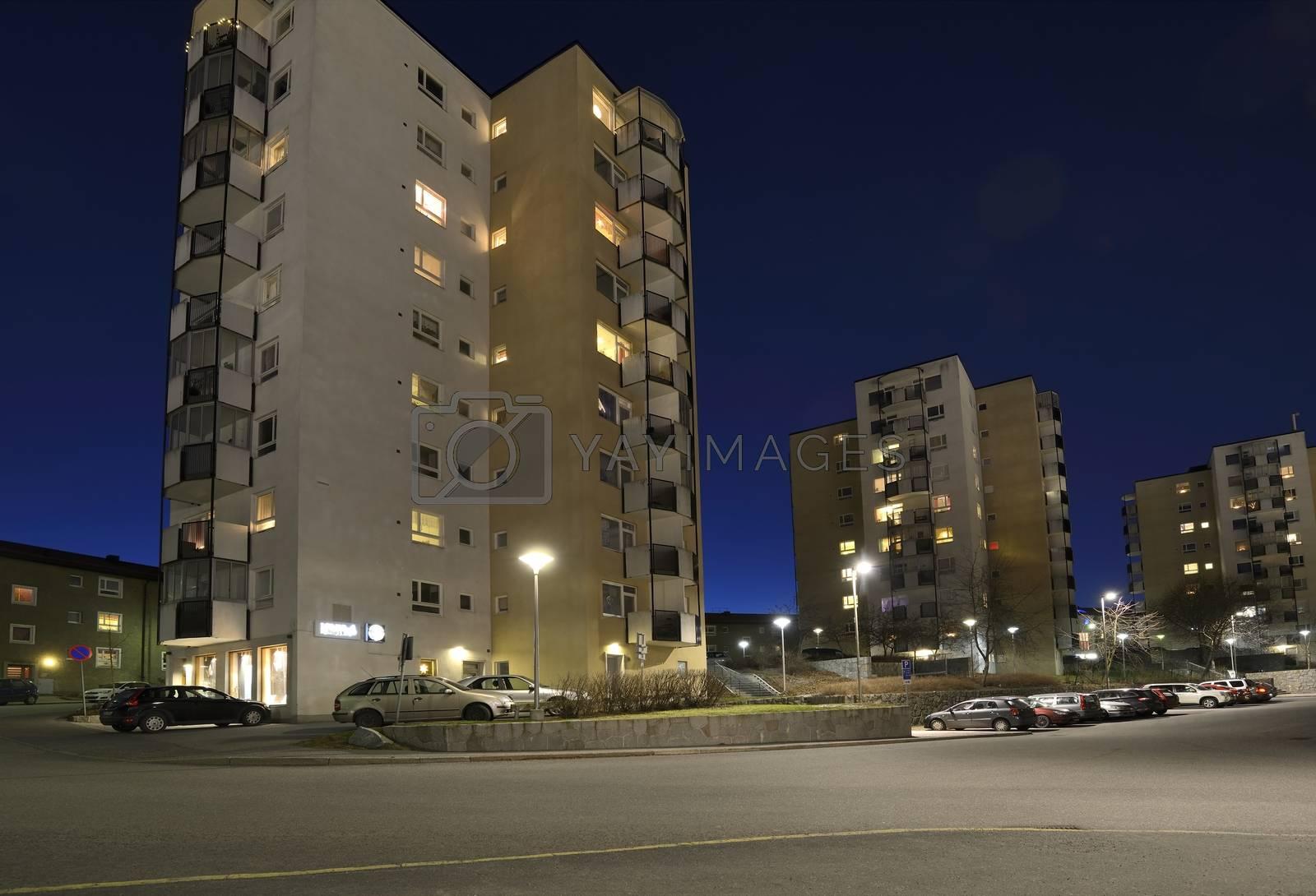 Apartment building in Liljeholmen, a part of Stockholm.