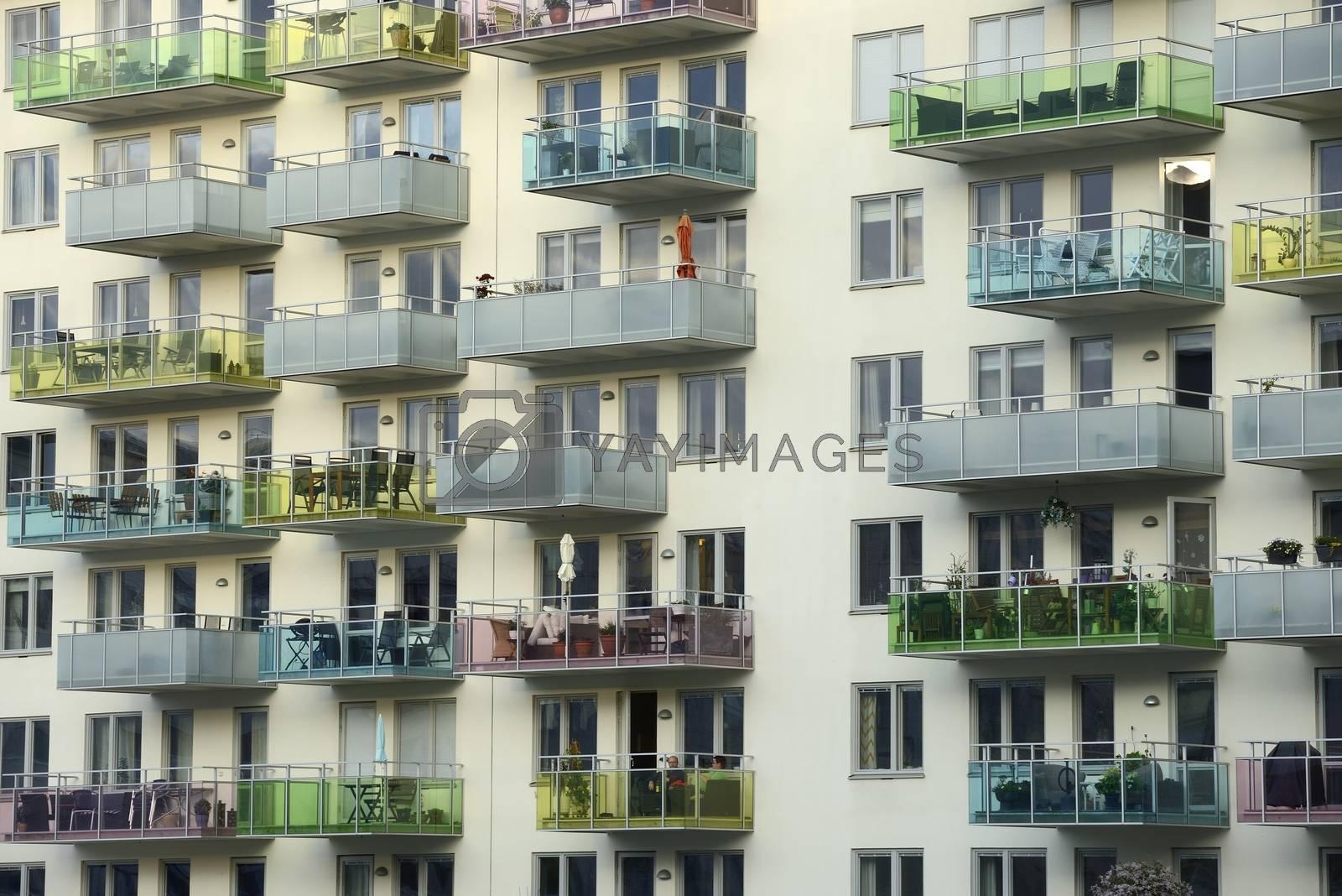 Closeup of modern apartment building