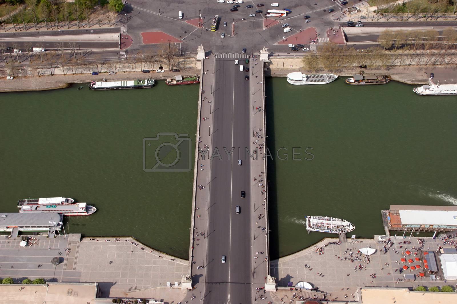 Bridge on the Seine river. Aerial view. Paris, France