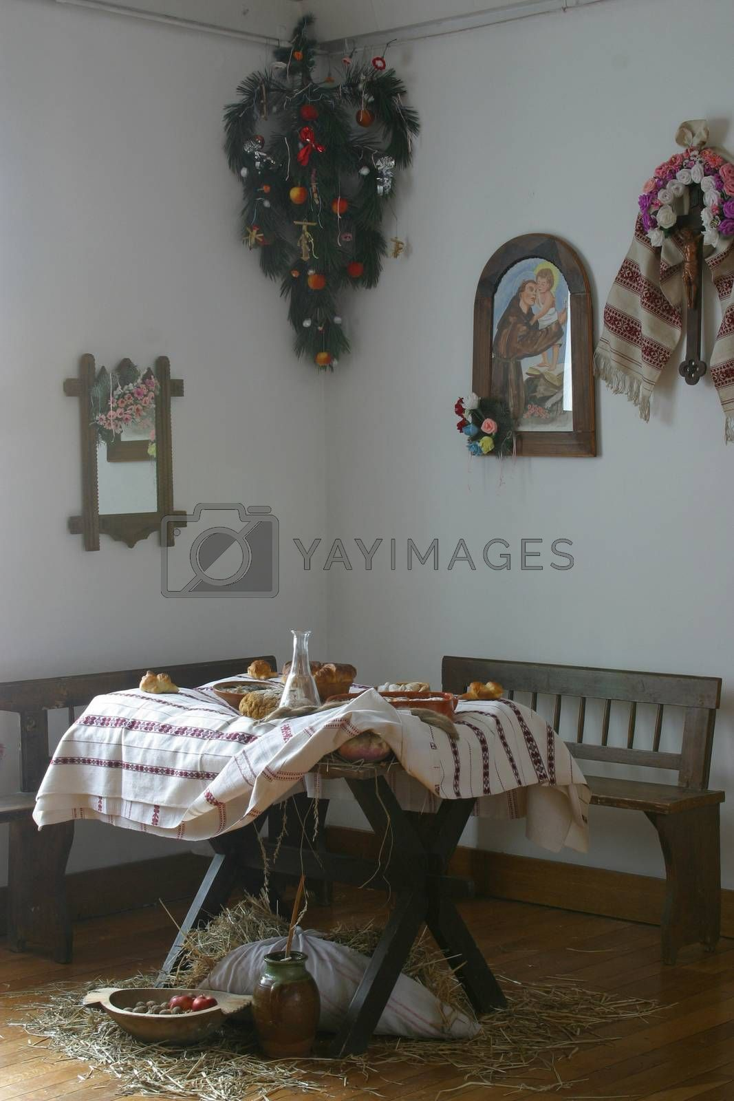 A nice dining table set for Christmas dinner in old countryhouse, central Europe -Croatia