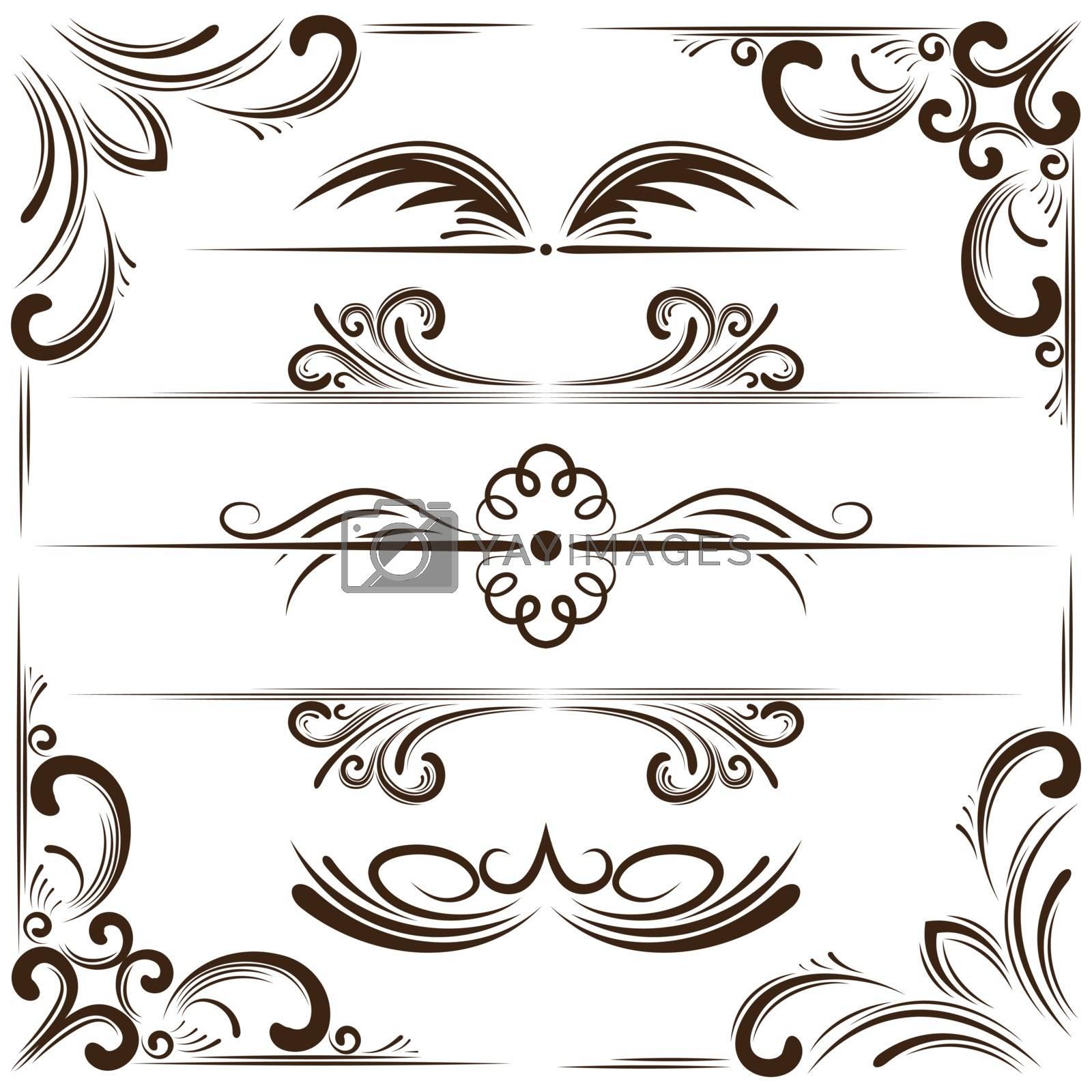 Vector set of elegant bookplates and corners for design