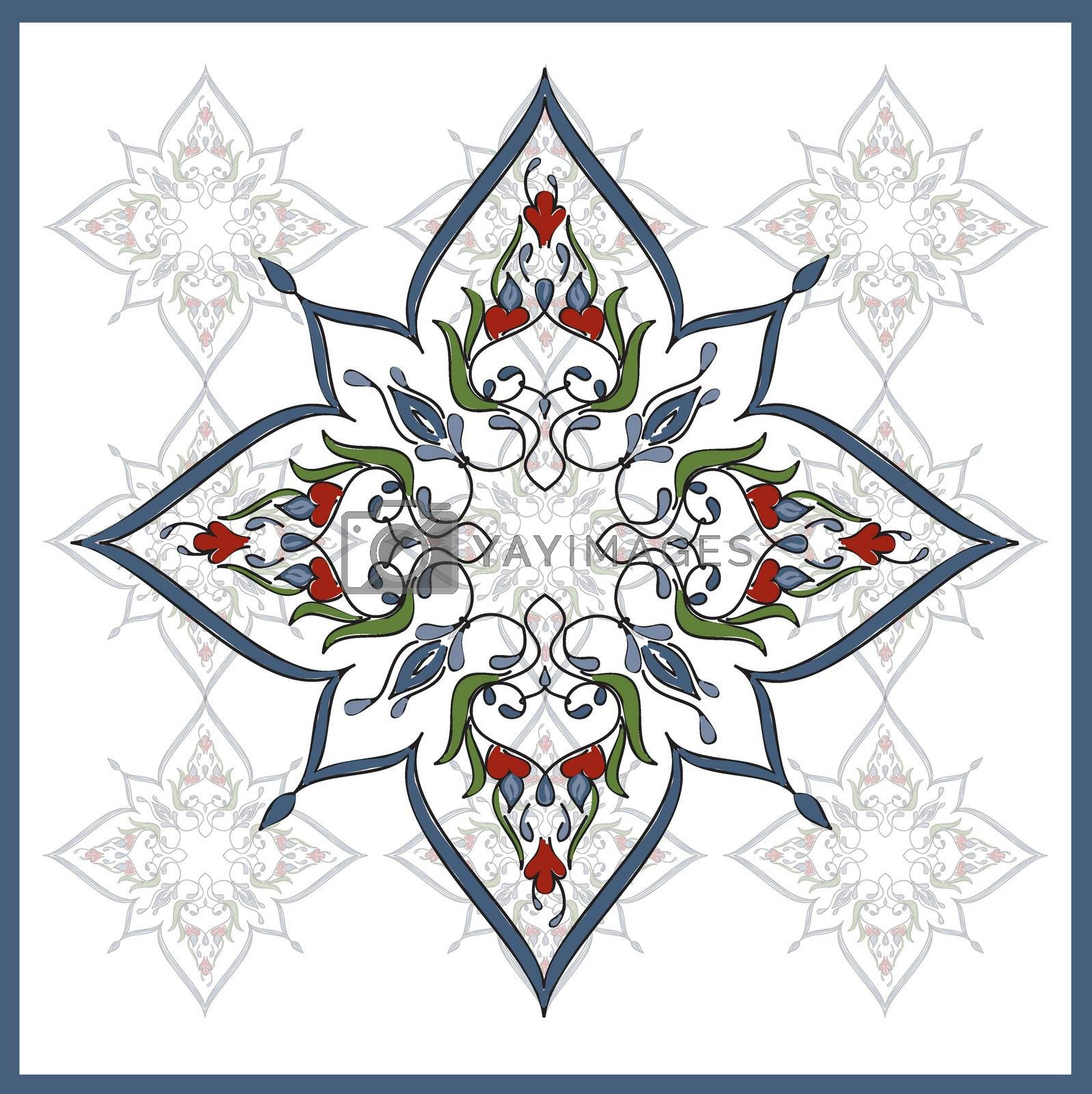 Royalty free image of Ottoman Tile Art  One Main element With nine colour little eleme by mturhanlar