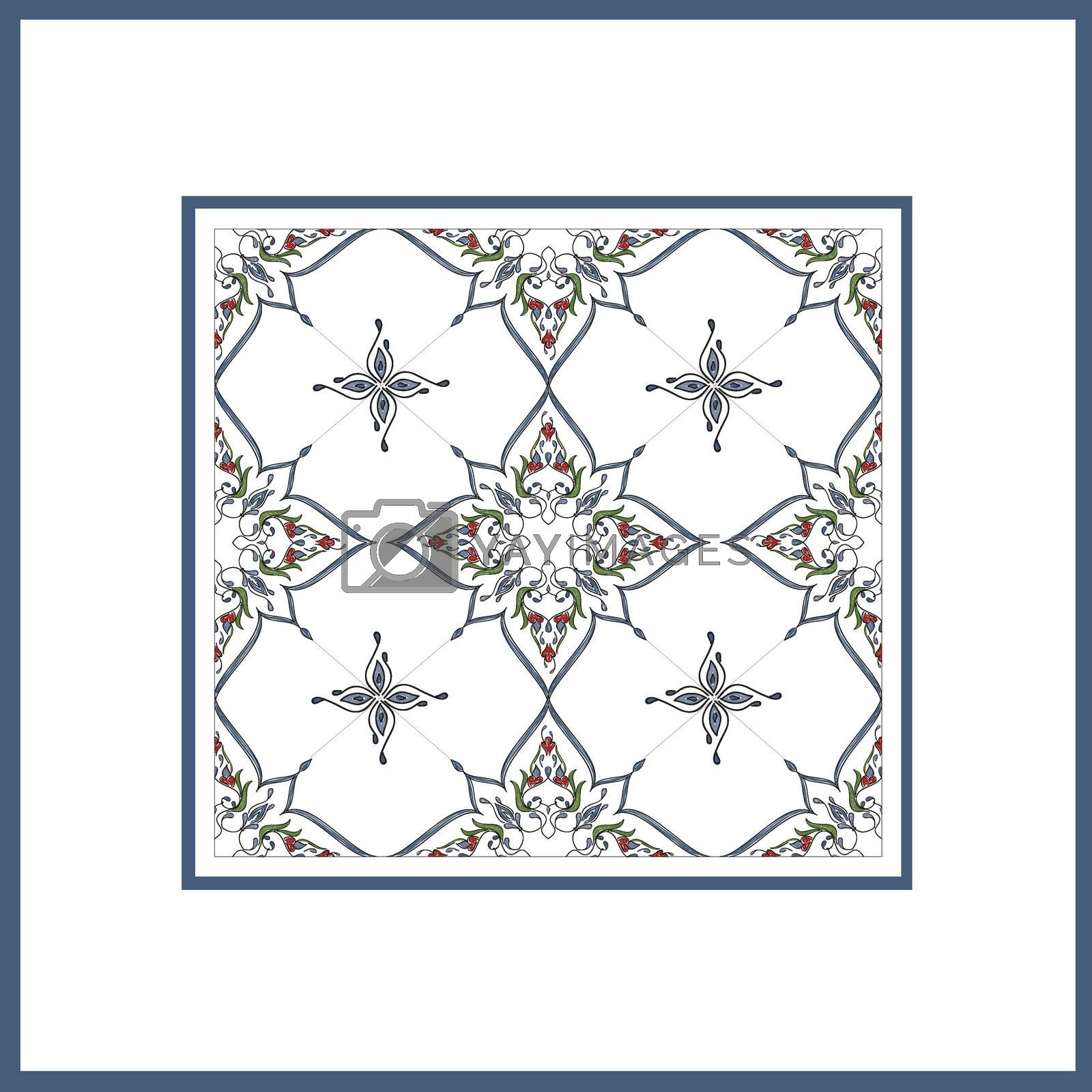 Royalty free image of Ottoman Tile Art With  Islamic Elements square with colour by mturhanlar