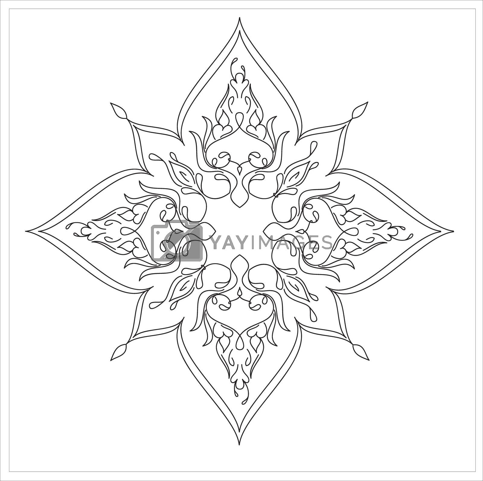 Royalty free image of Ottoman Tile Art With  Islamic Elements square without colour by mturhanlar