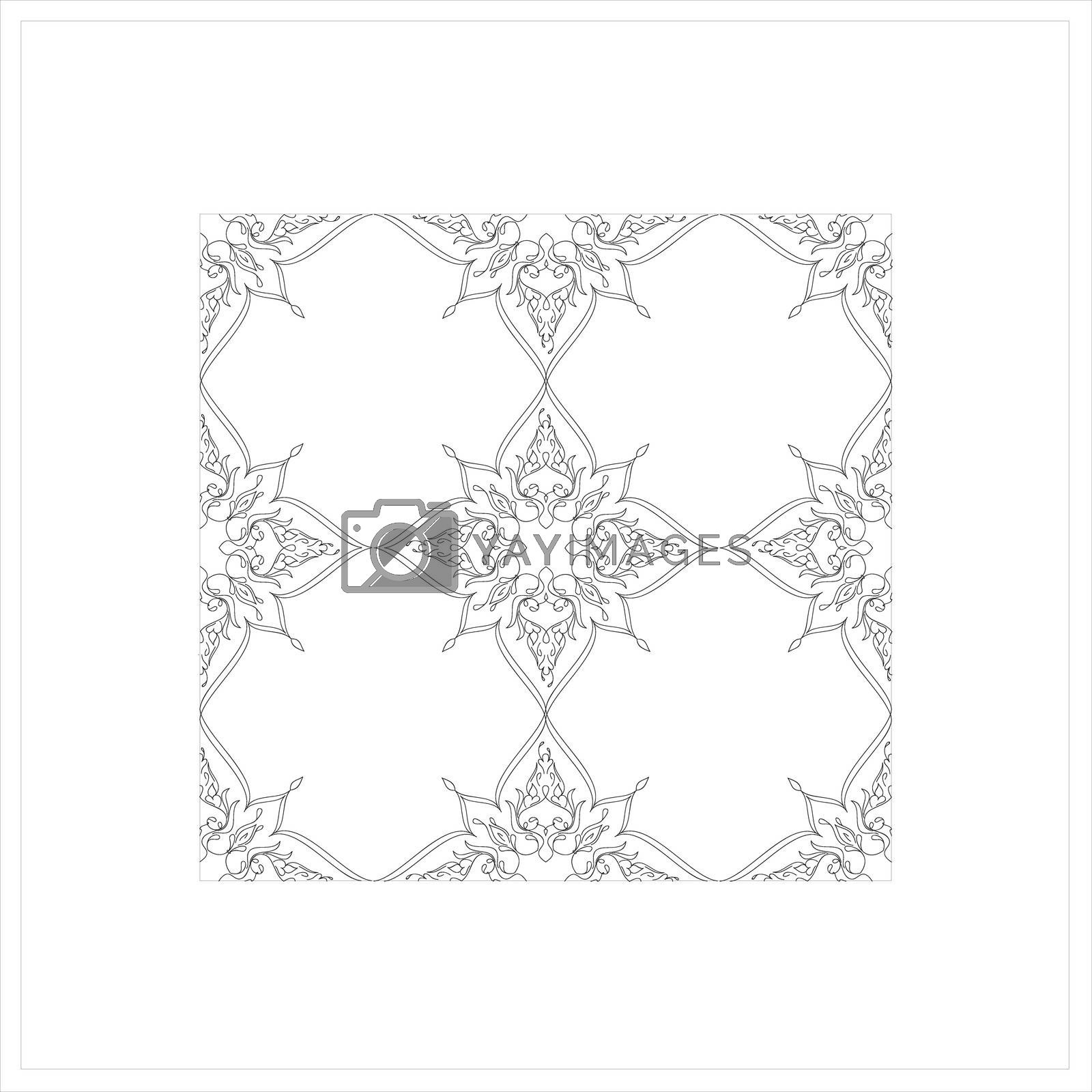 Royalty free image of Ottoman Tile Art With  Islamic Elements without colour square by mturhanlar