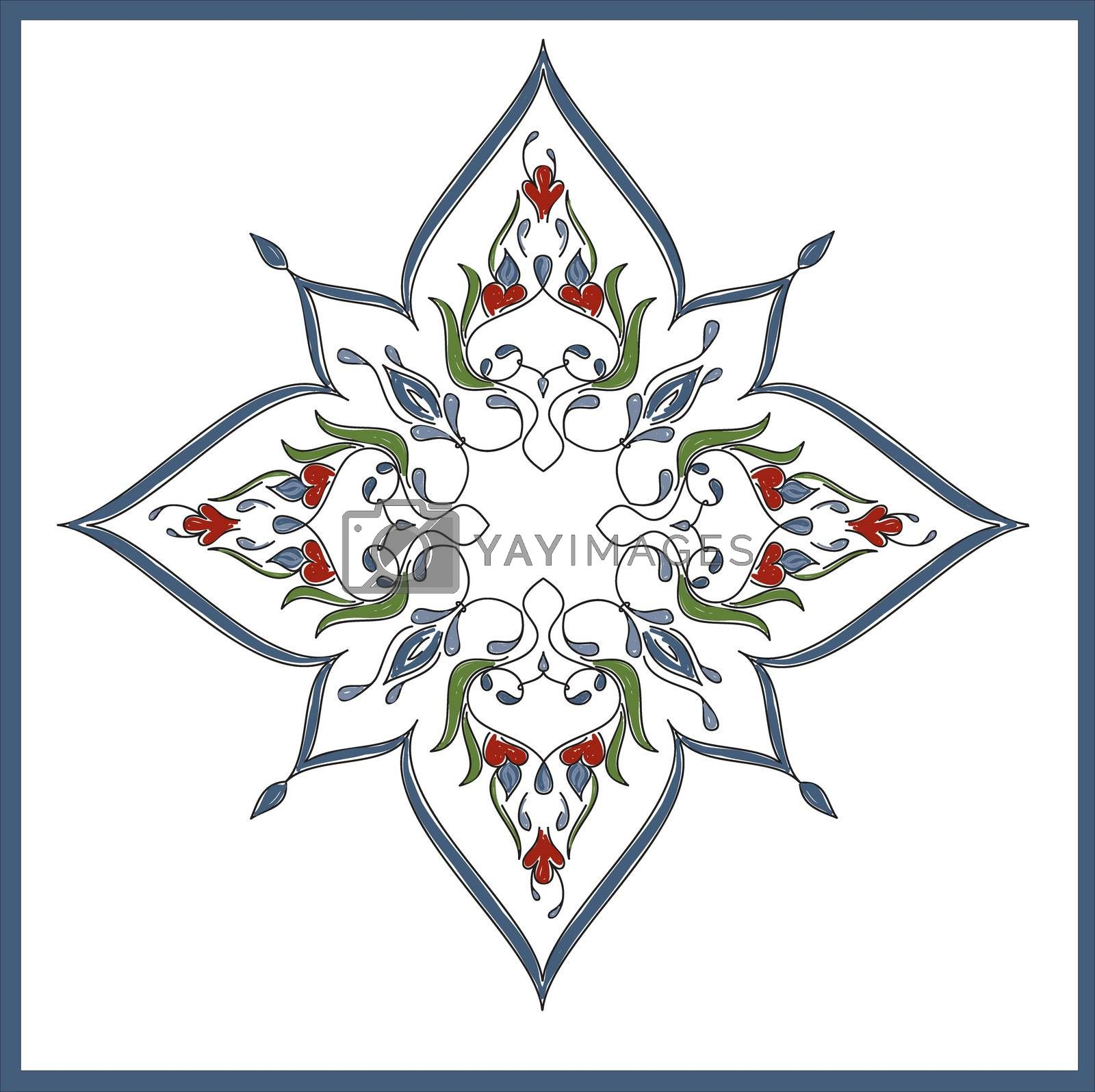 Royalty free image of Ottoman Tile Art With  One Main Islamic Element by mturhanlar