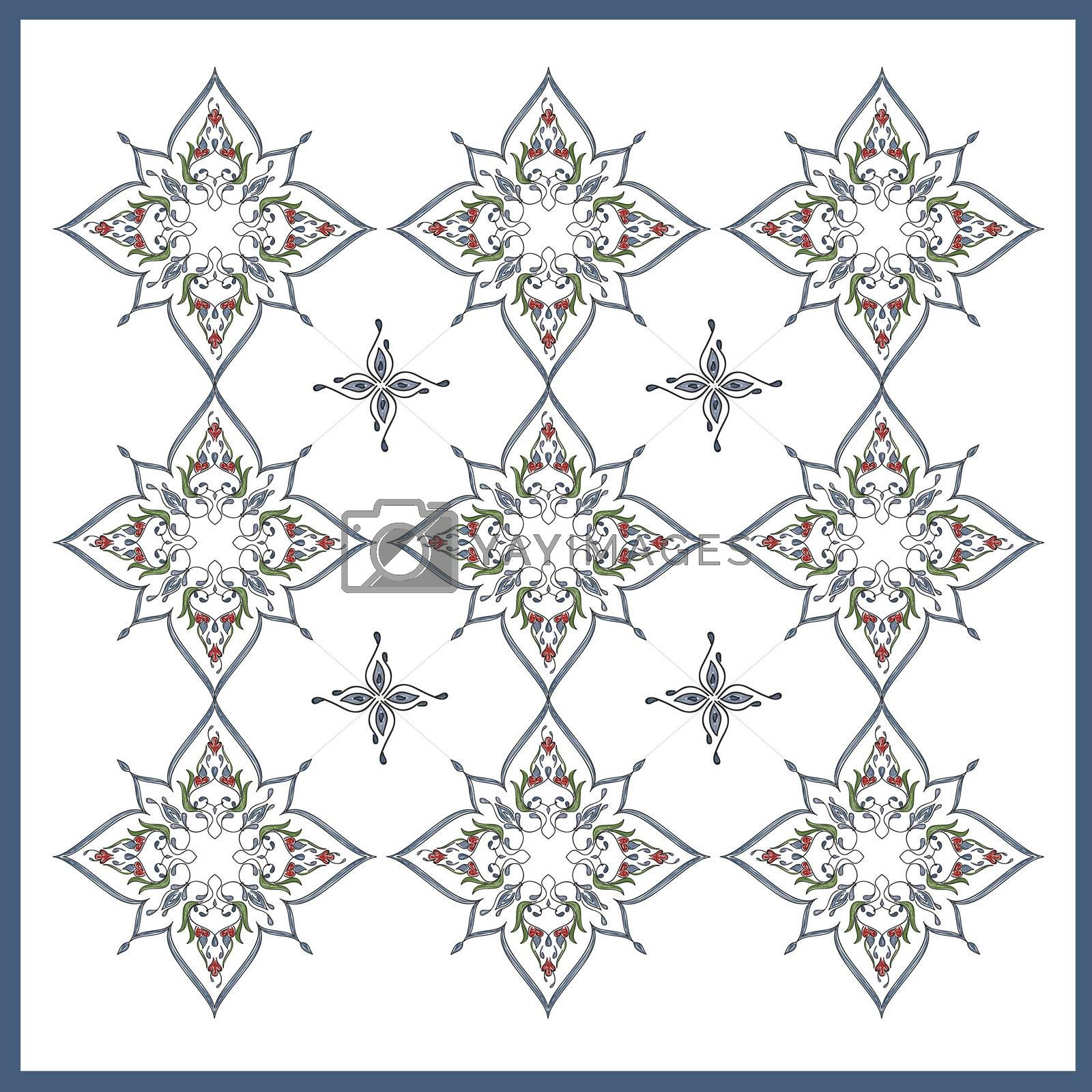 Royalty free image of Ottoman Tile Art With  Nine Islamic elements with colour by mturhanlar
