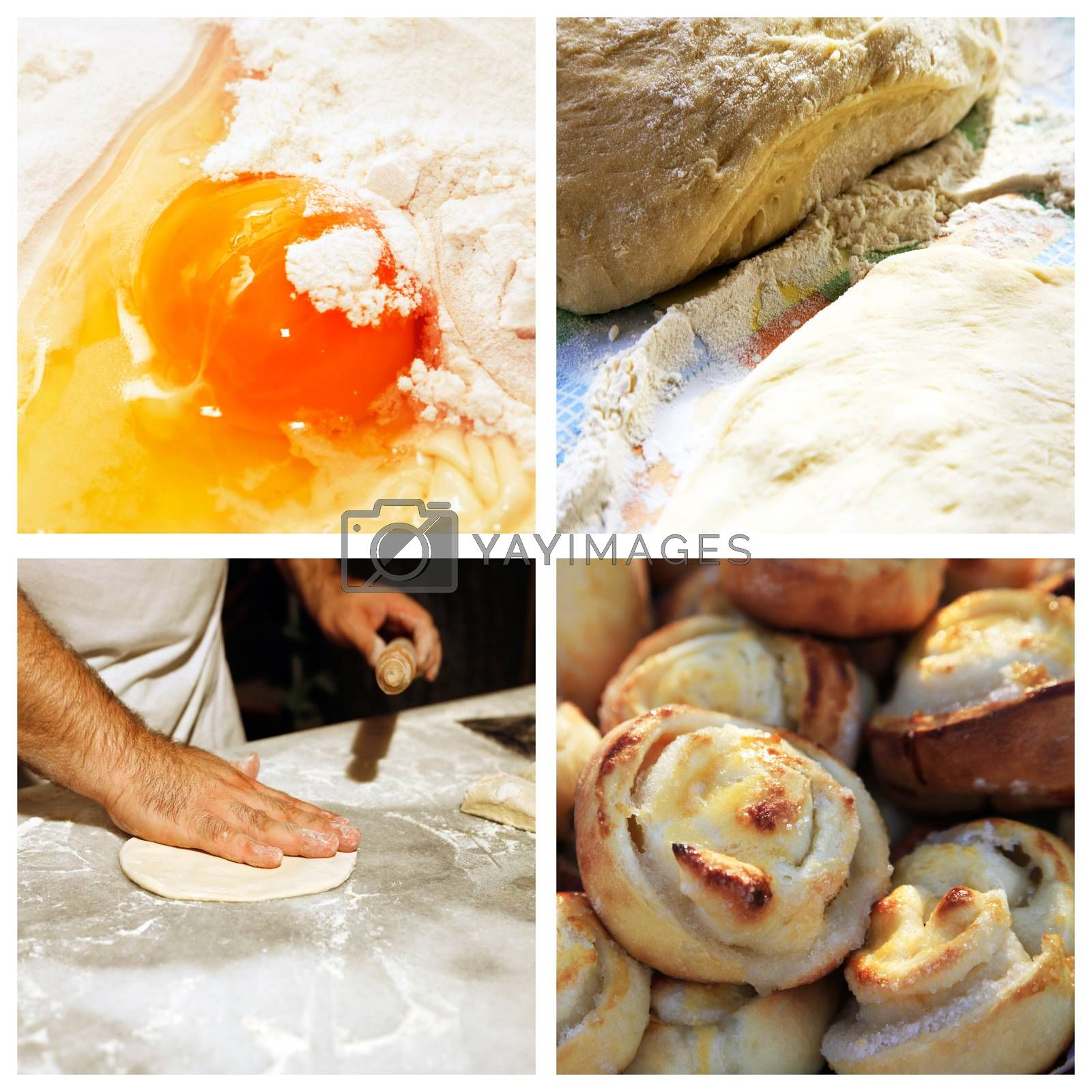 Collage of 4 pictures of cooking pies