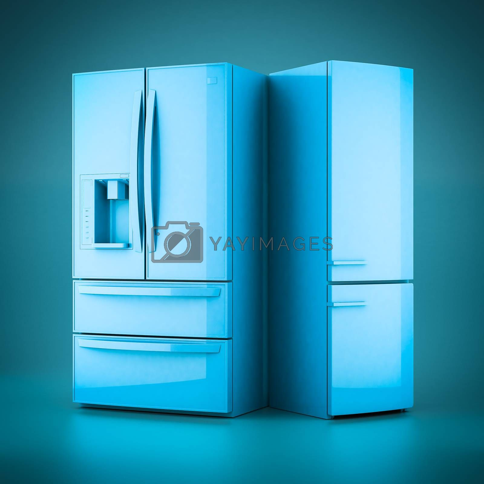 3D rendering beautiful refrigerator on a blue background