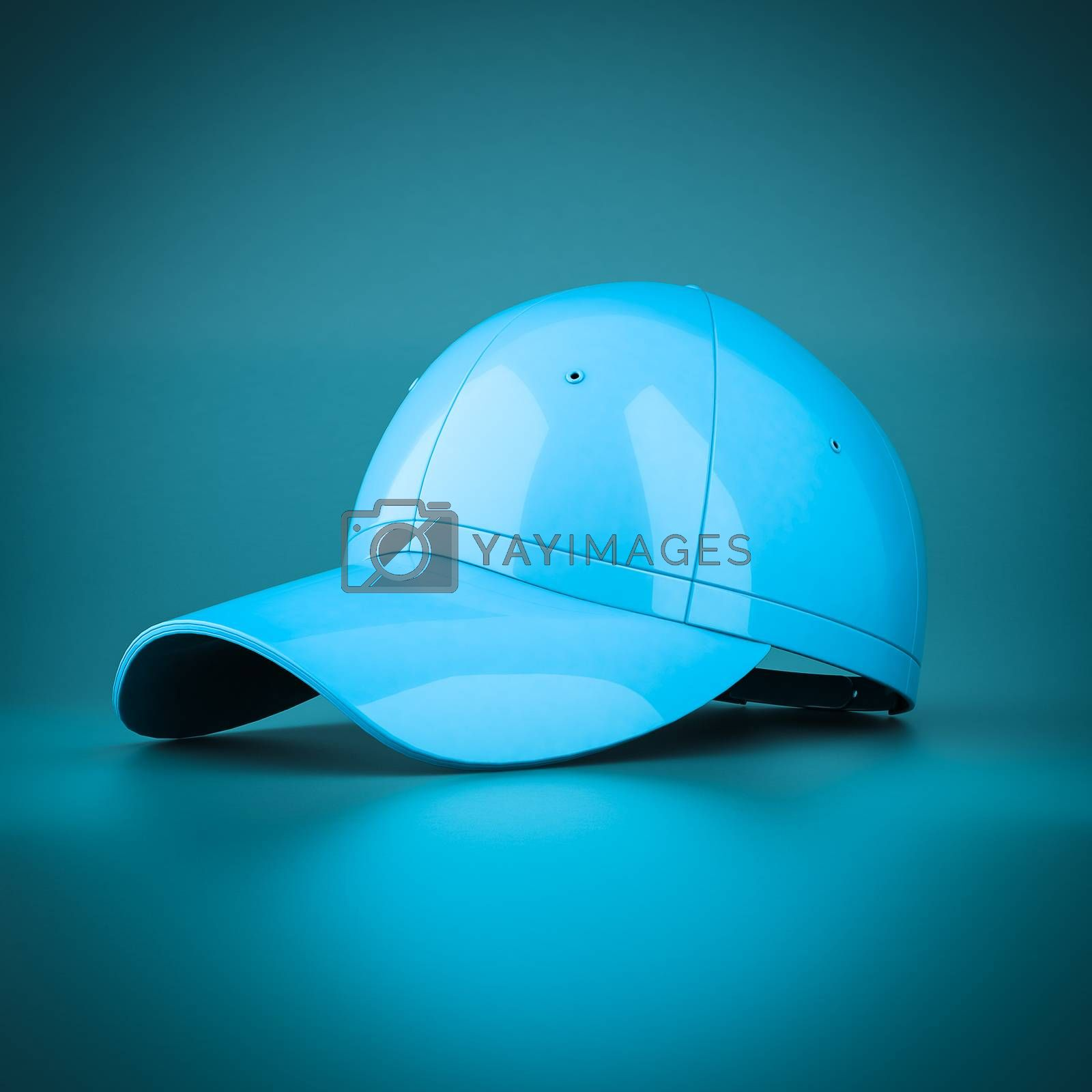 3D rendering baseball cap on blue background