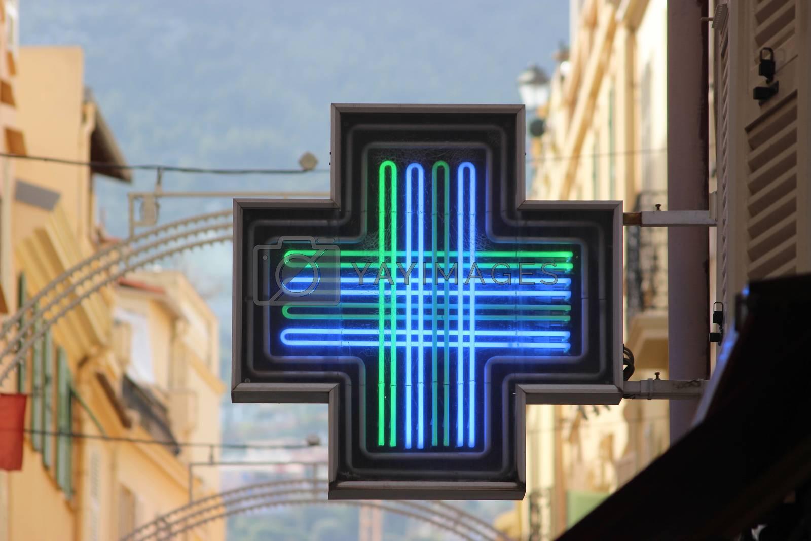 Pharmacy Green Cross Sign or Drug Store Symbol
