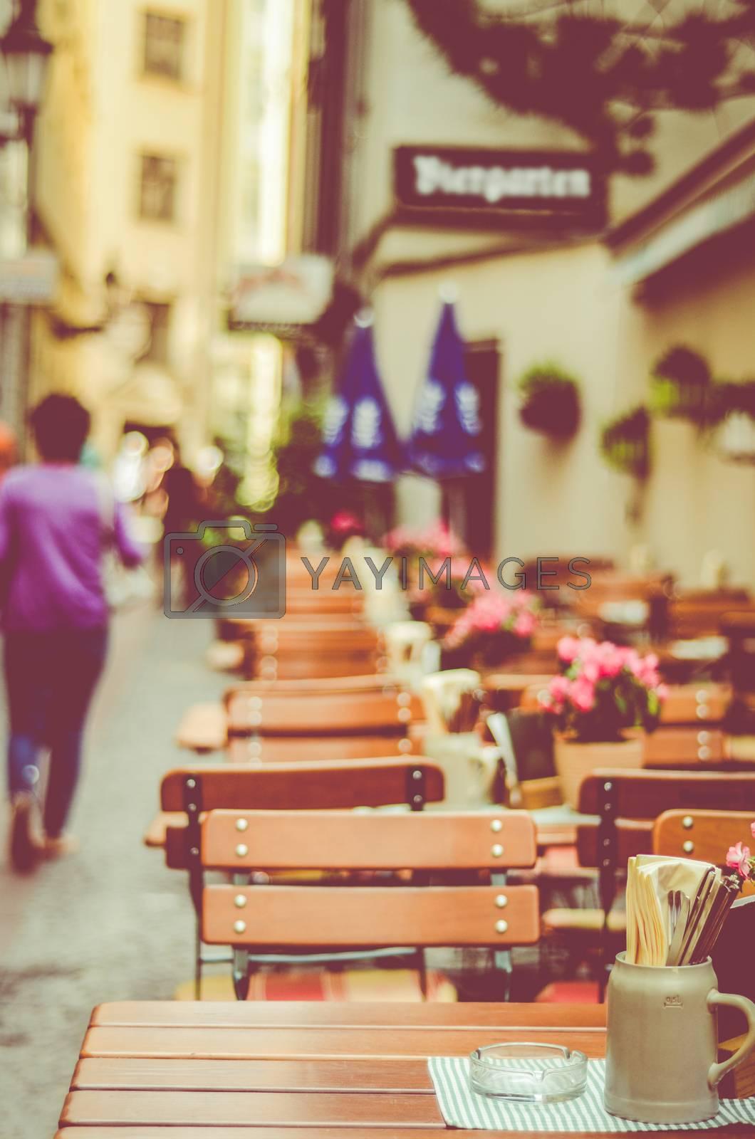 Beer Garden Or Sidewalk Cafe In A European City