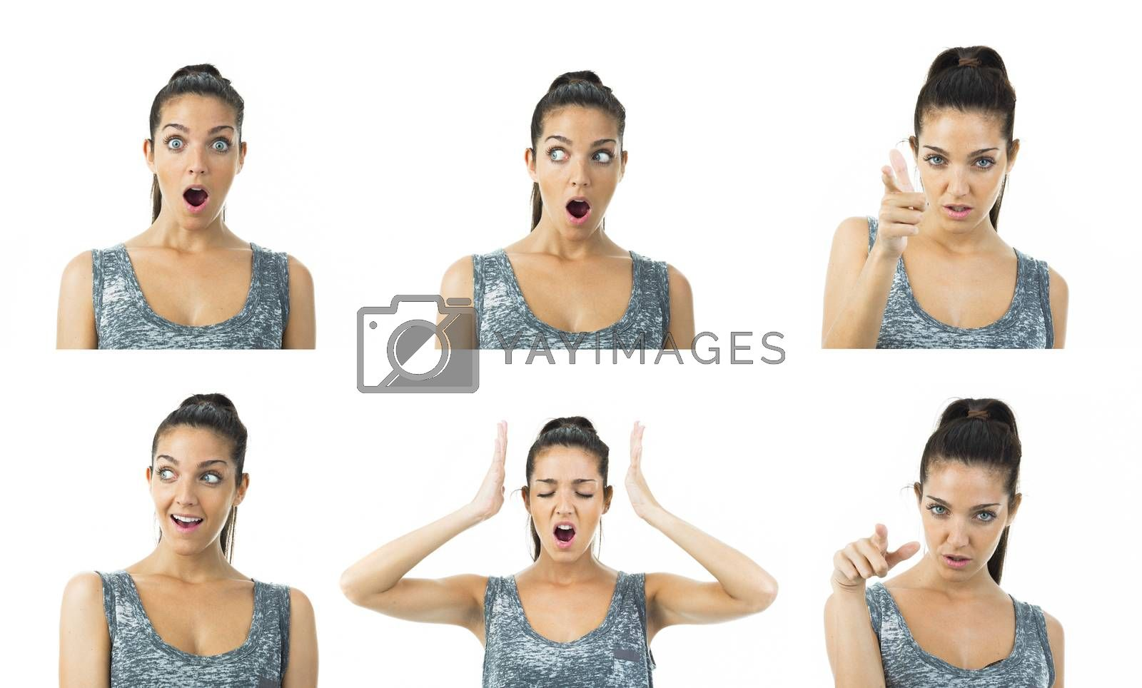 composition image of real young woman in different expressions
