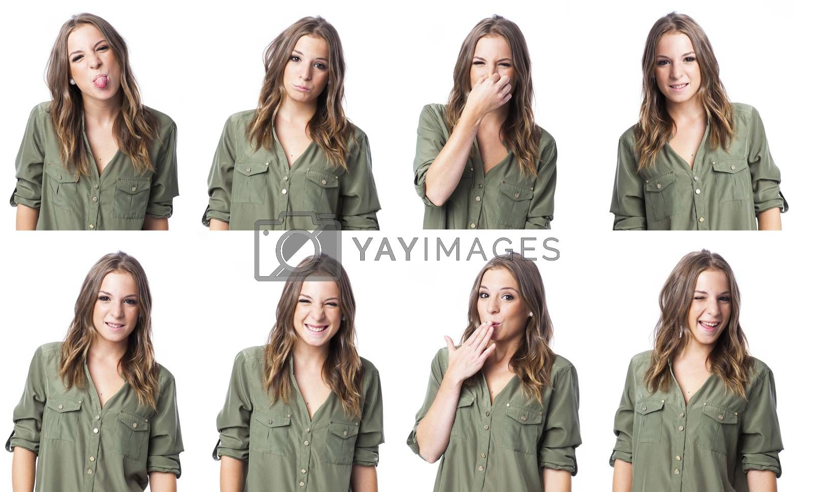 composite of young real woman with funny expression