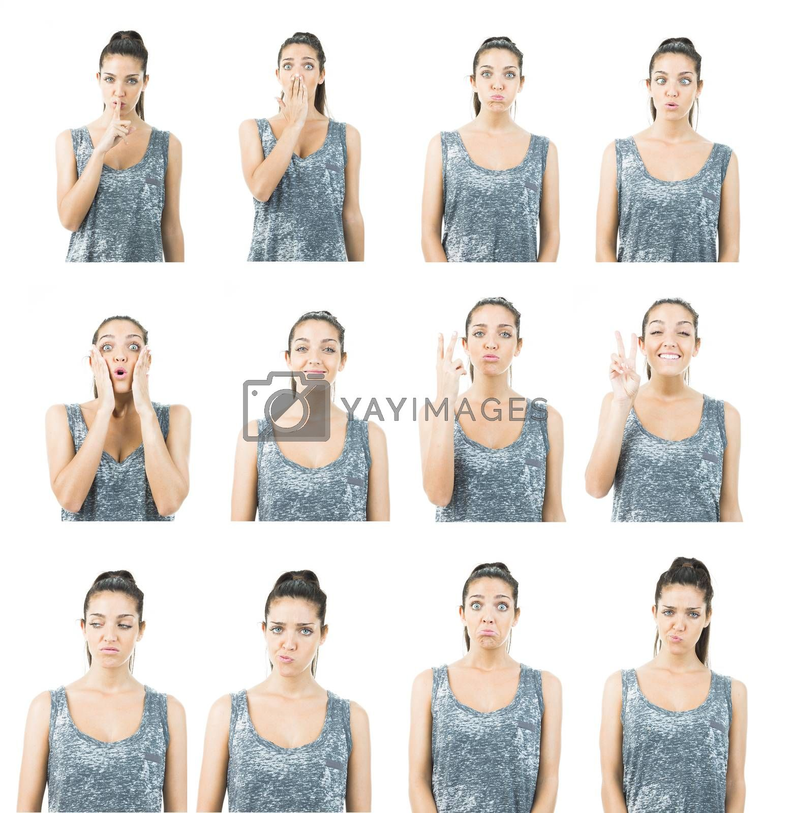 images of a young woman in different expressions
