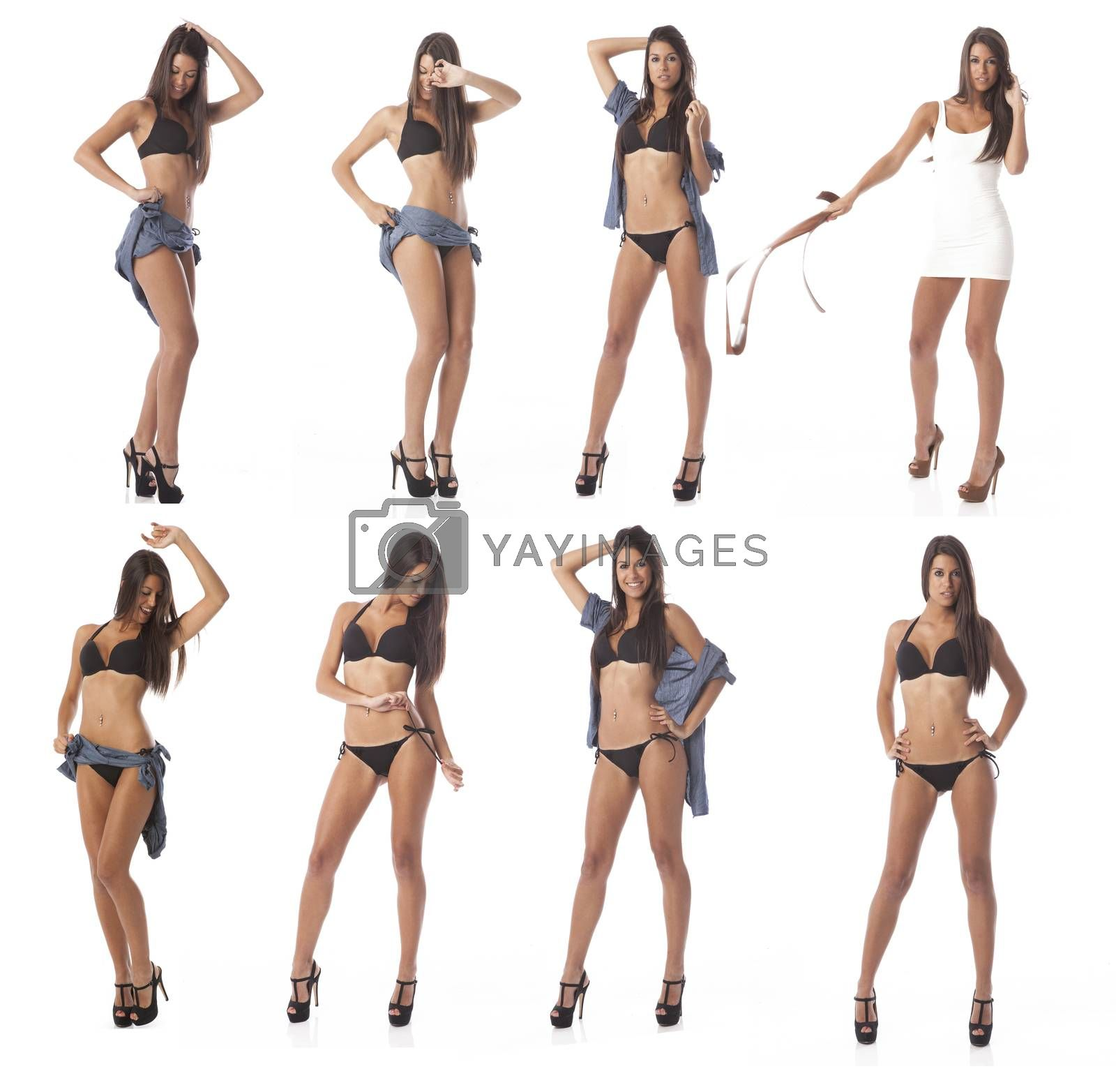 pretty slim fit gorgeous young woman over white background