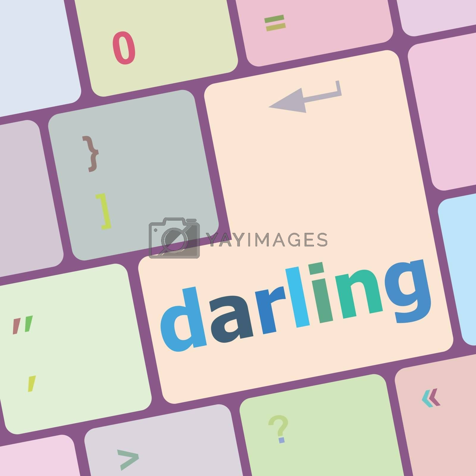 darling button on computer pc keyboard key vector illustration