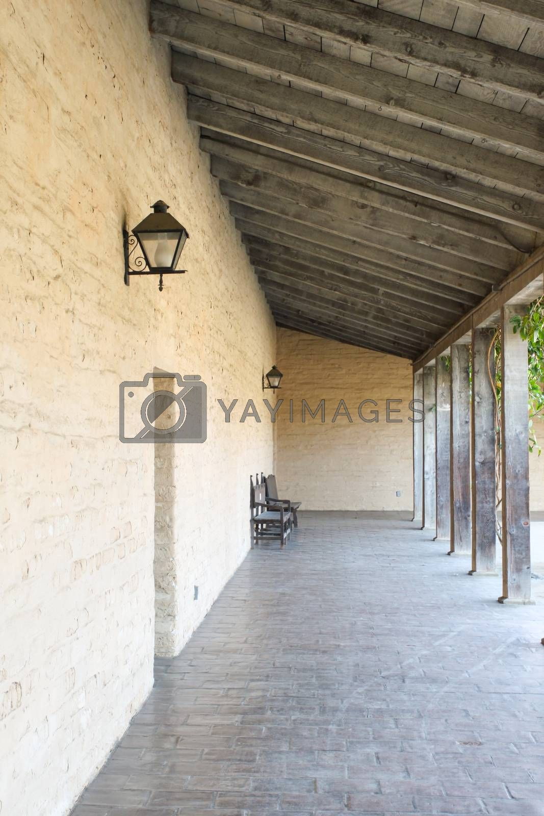 Old outside corridor at a historical building in Santa Barbara.