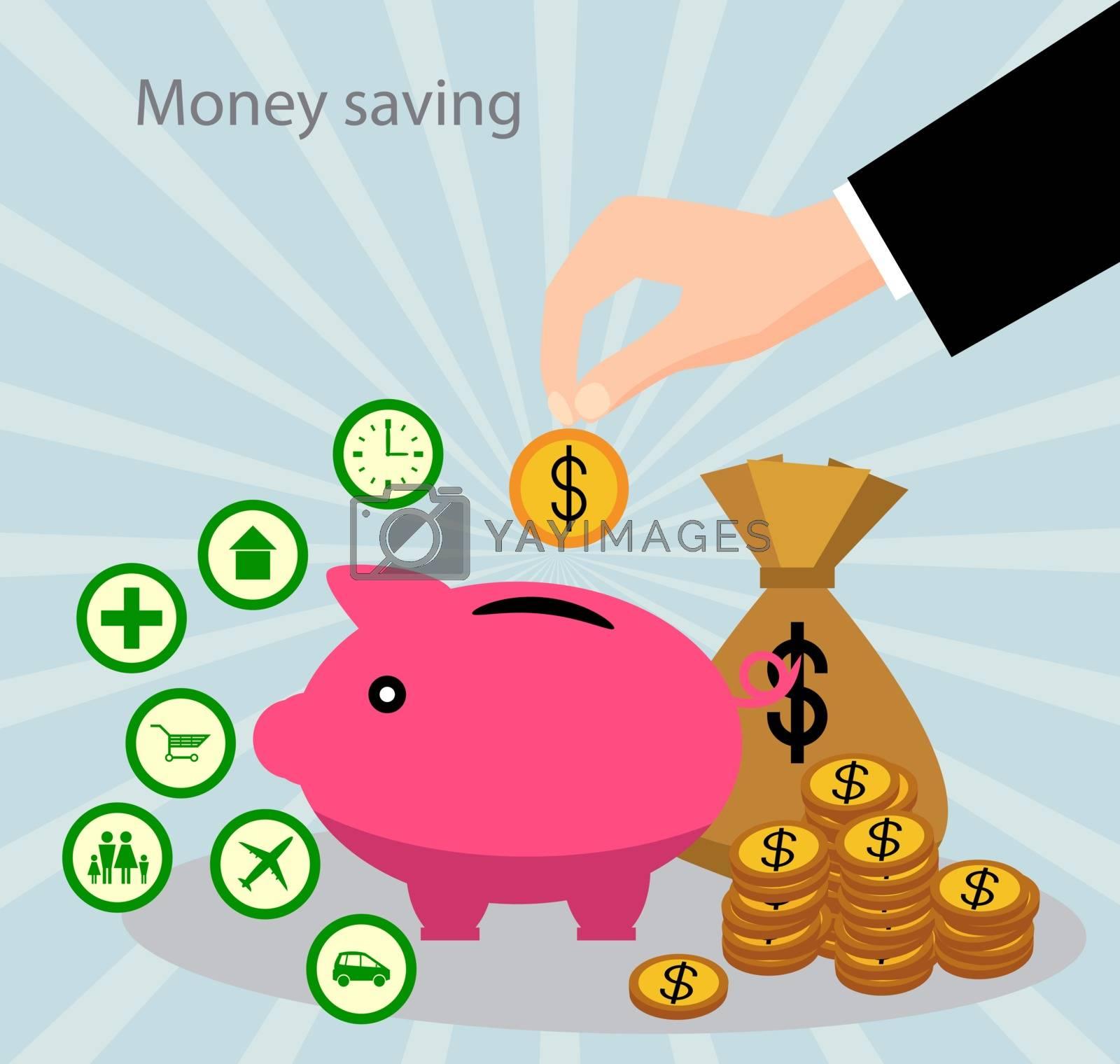 The concept of saving money. Money accumulation concept.