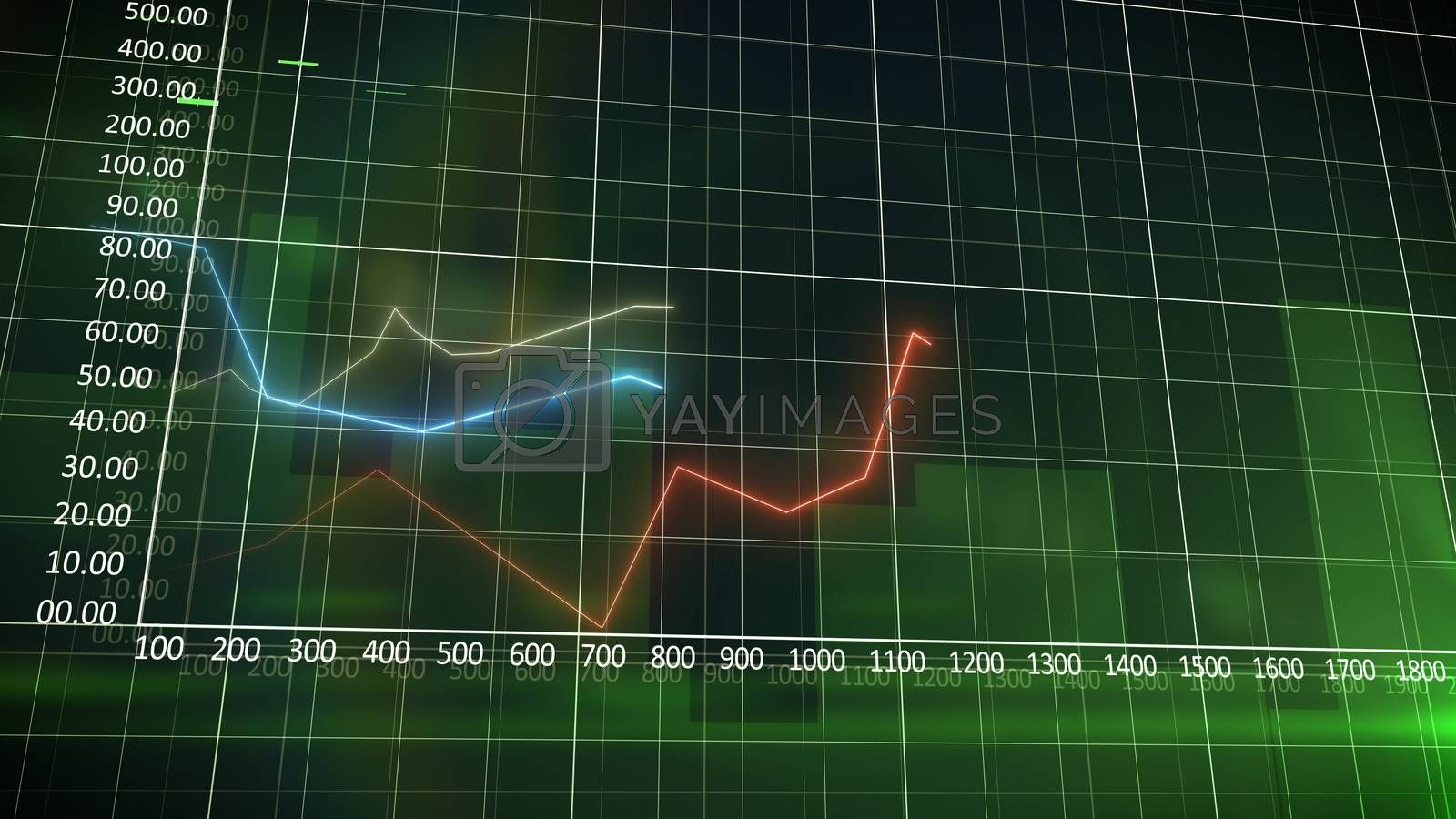 Business chart on a green wall background with progressing red curve.
