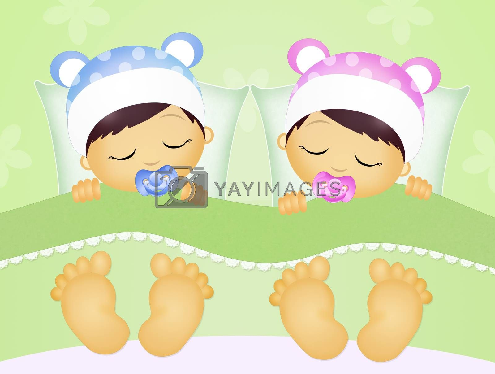 illustration of babies sleeping in the bed