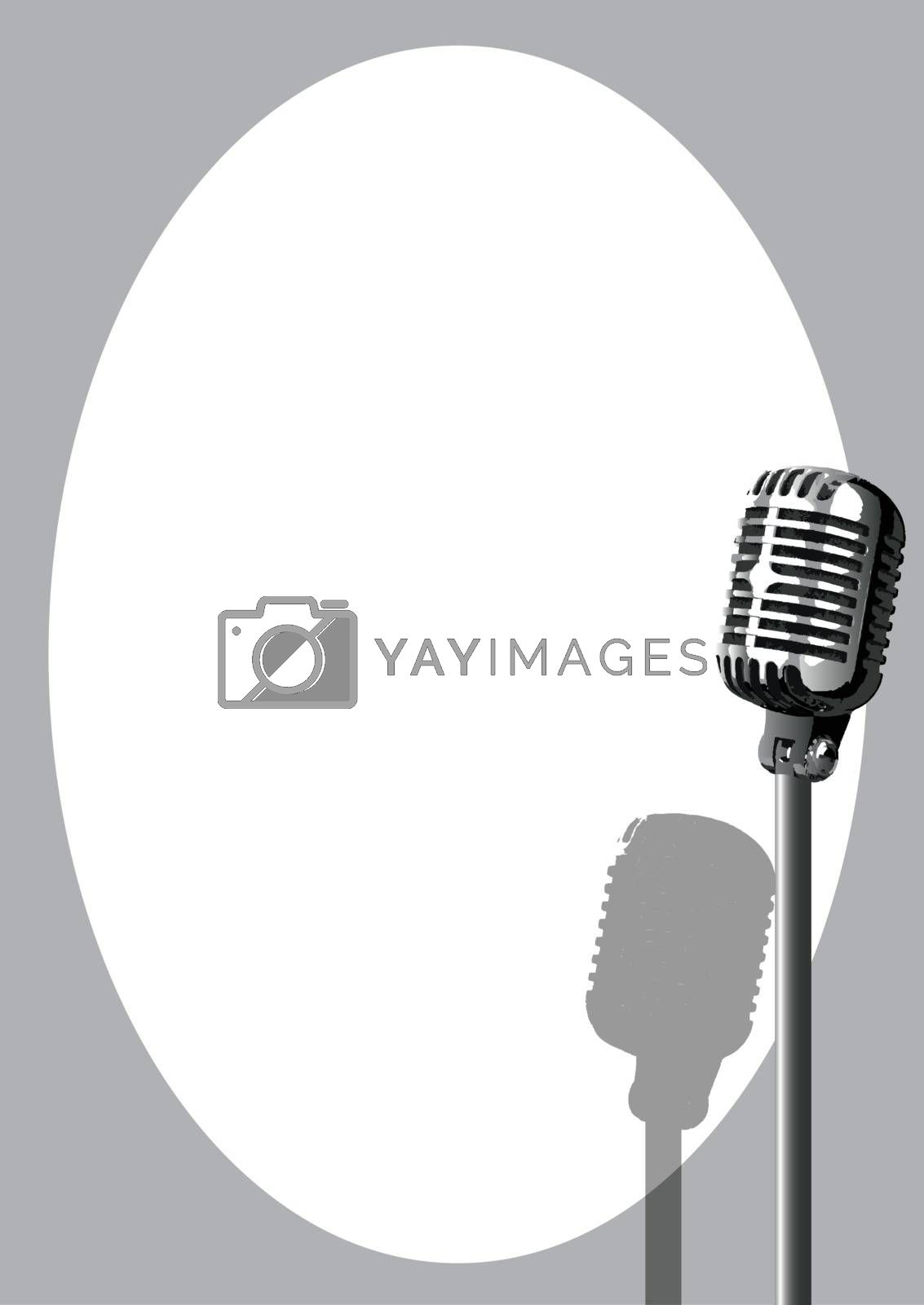 A microphone ready on stage against a white background