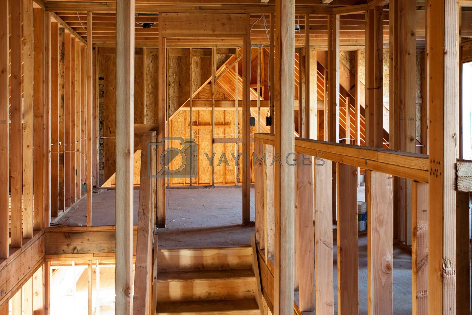 Unfinished Home Framing Interior by graficallyminded
