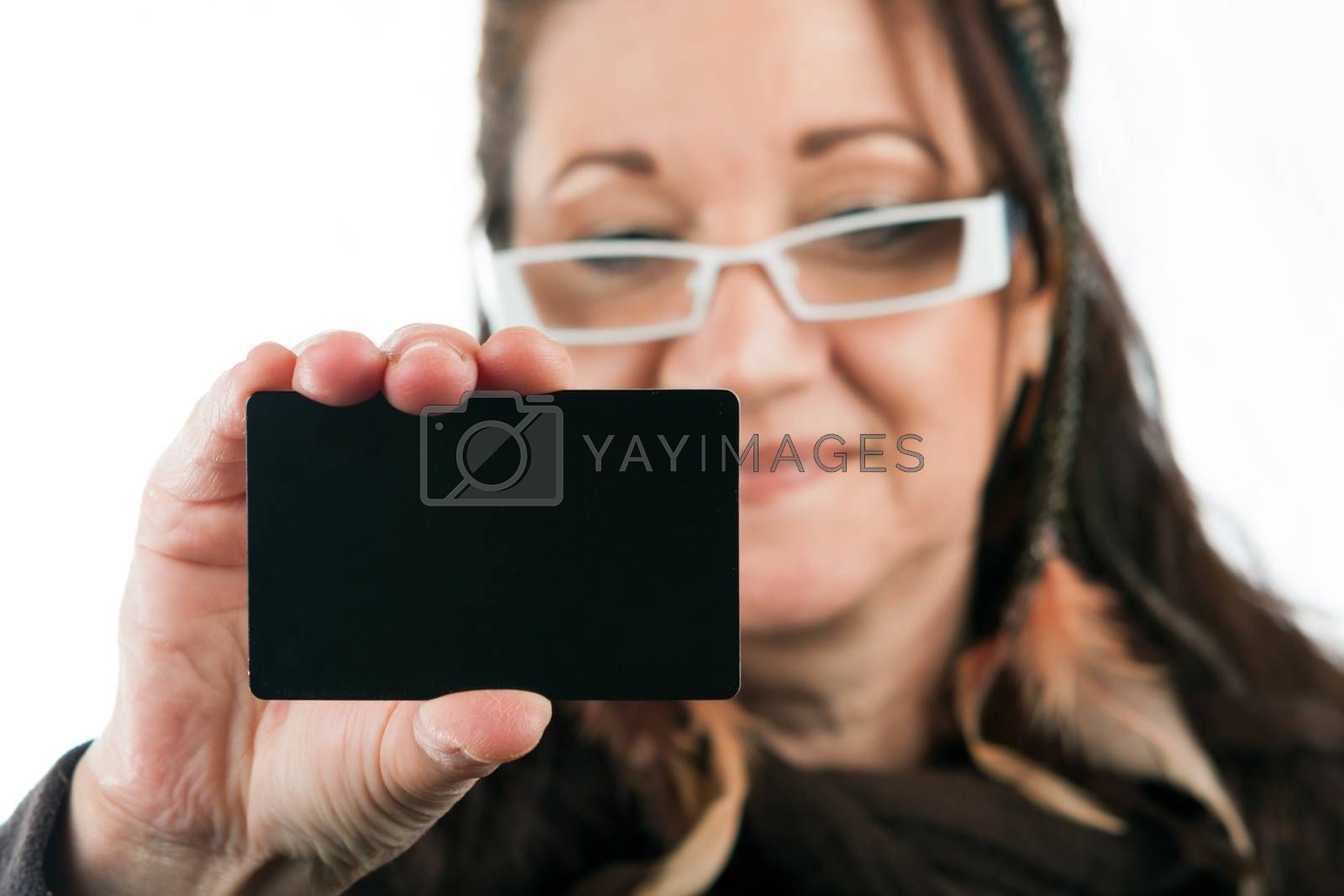 Woman Showing Blank Credit Card by graficallyminded